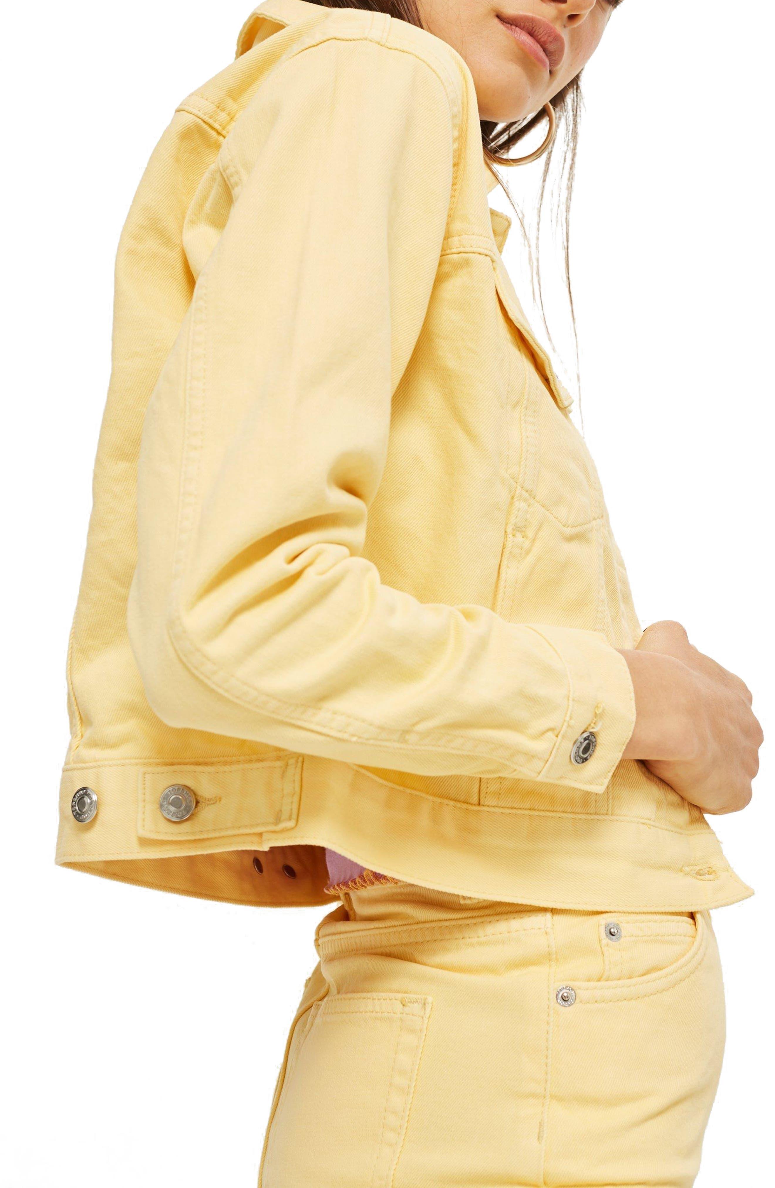 Yellow Denim Jacket,                             Alternate thumbnail 3, color,                             LIGHT YELLOW