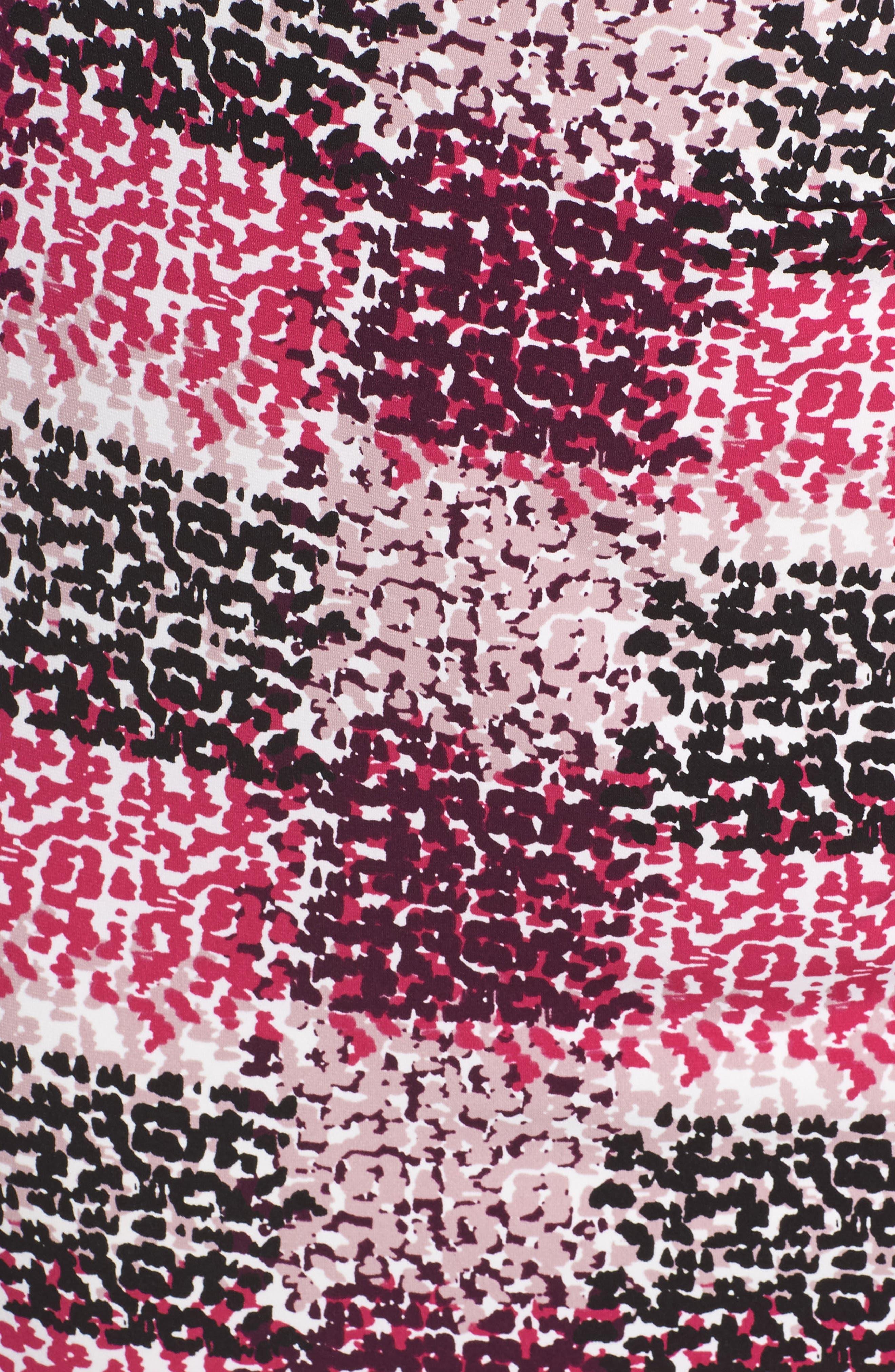Print Jersey Side Tuck Sheath Dress,                             Alternate thumbnail 5, color,                             465
