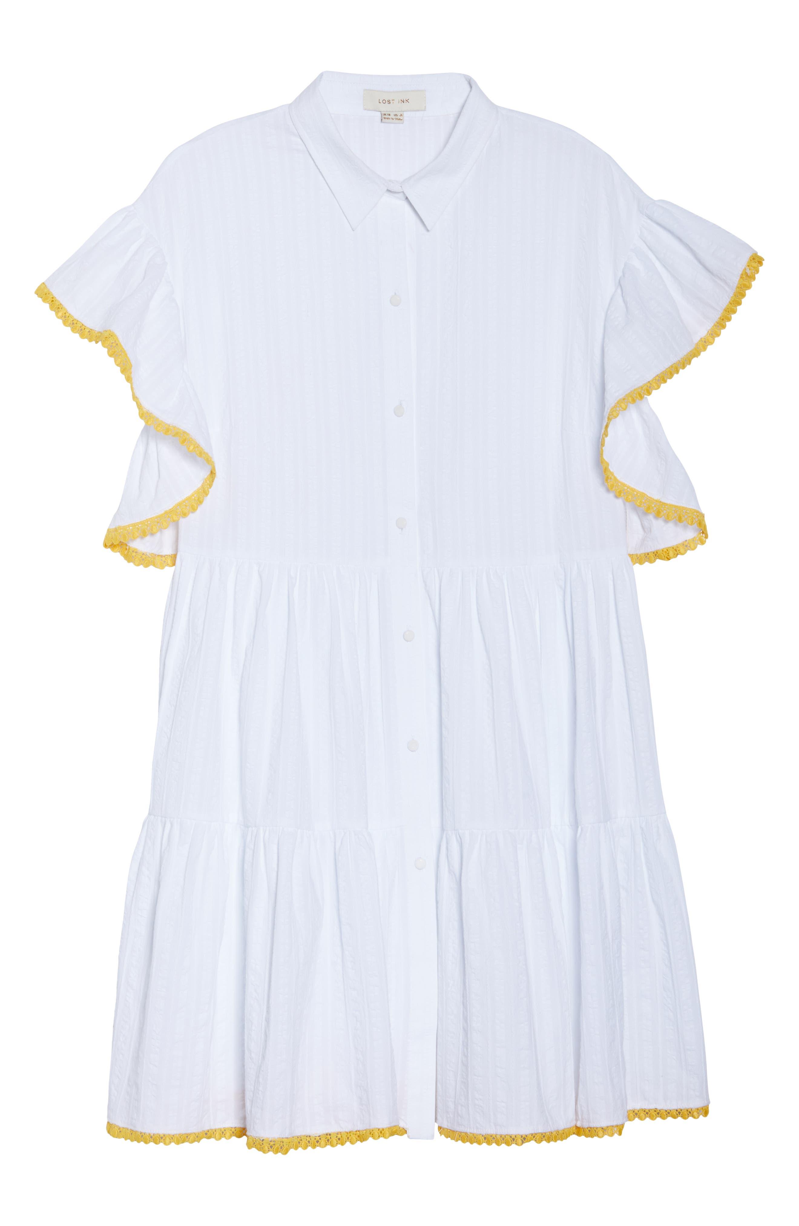 Shirred Shirt Dress,                             Alternate thumbnail 7, color,                             100