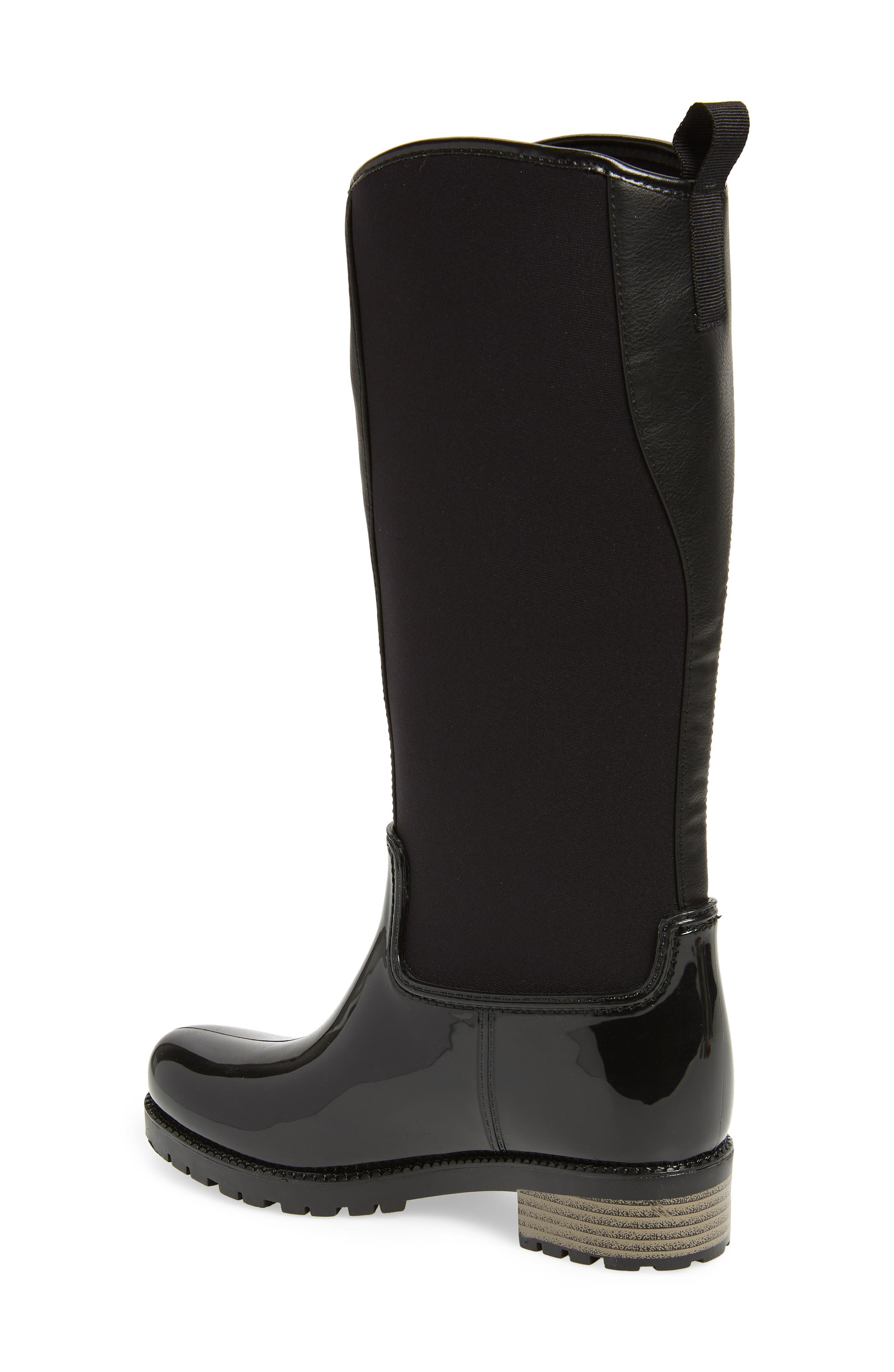 Parma 2 Tall Waterproof Rain Boot,                             Alternate thumbnail 2, color,                             BLACK FABRIC