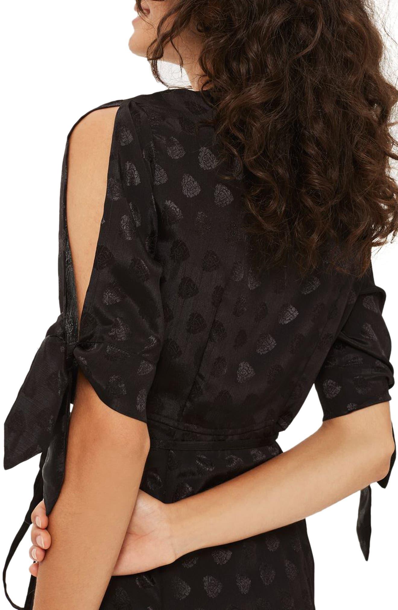 Jacquard Wrap Midi Dress,                             Alternate thumbnail 2, color,                             001