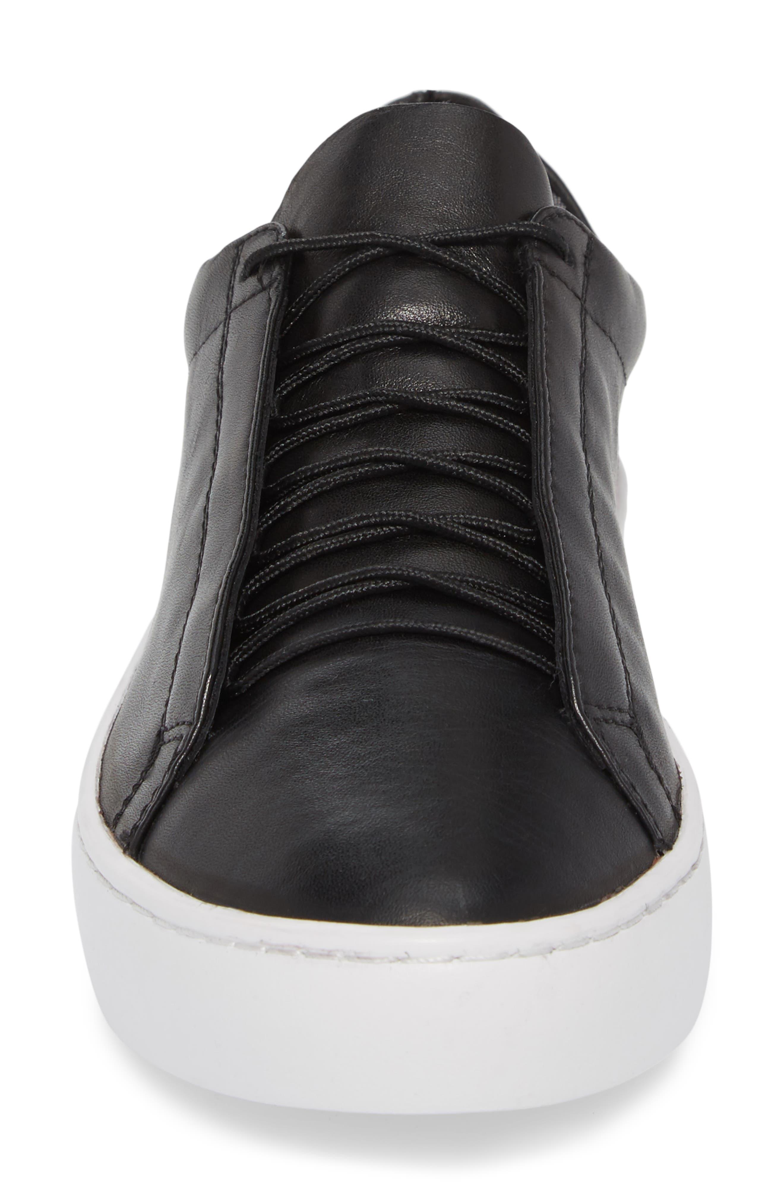 Zoe Sneaker,                             Alternate thumbnail 4, color,                             BLACK LEATHER