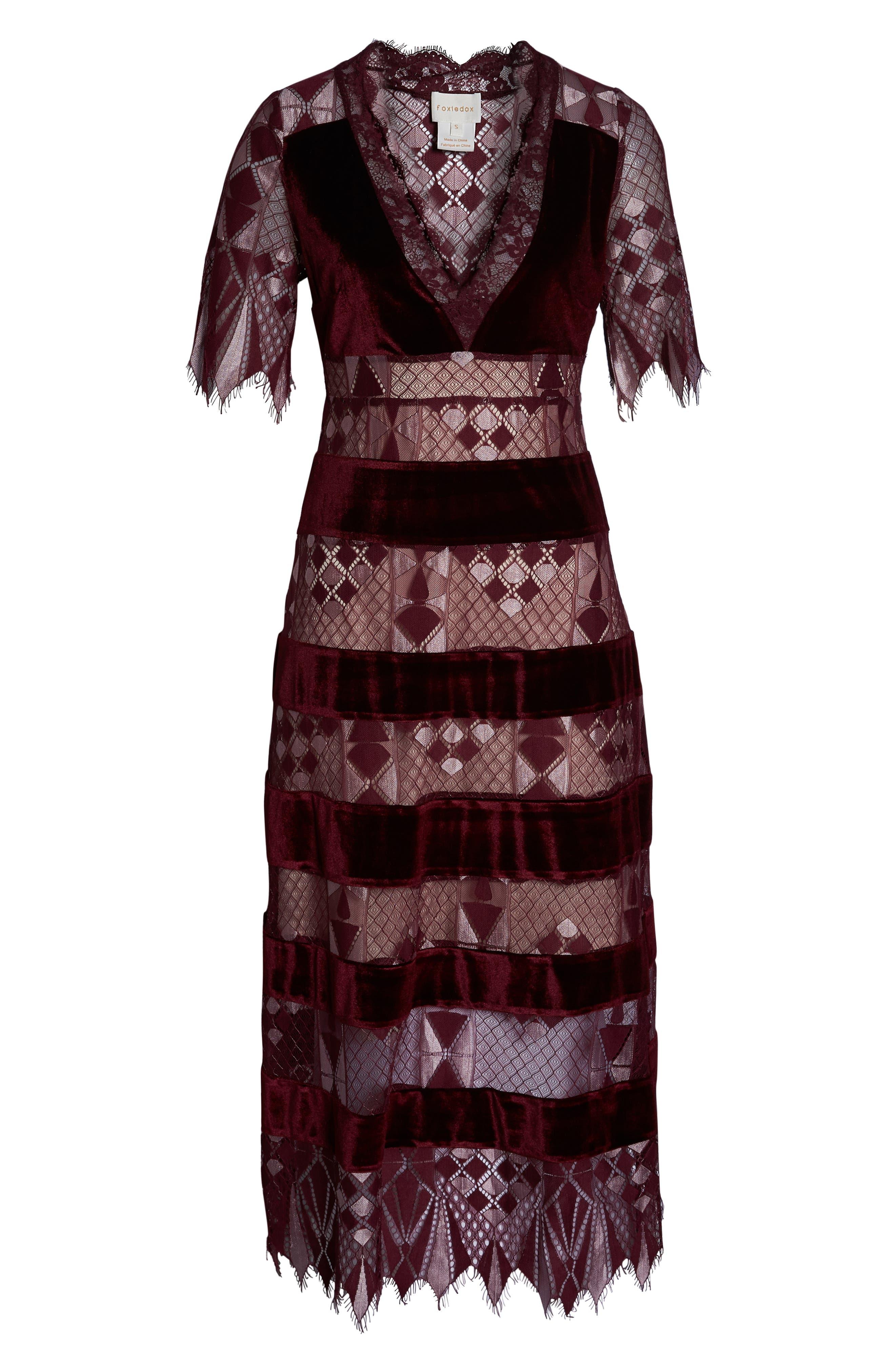 Aria Zulu Lace & Velvet Midi Dress,                             Alternate thumbnail 7, color,                             BURGUNDY