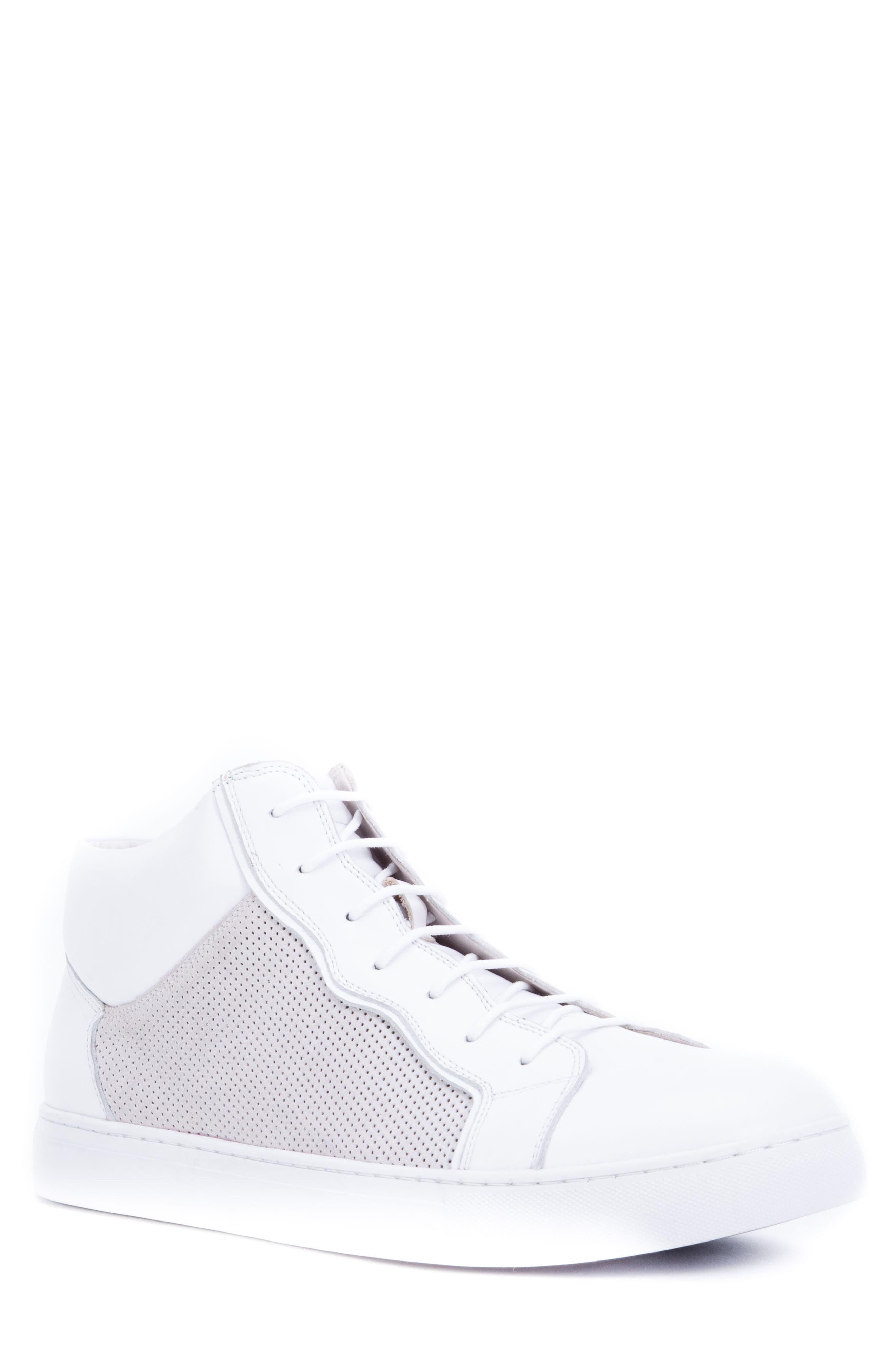 Zanzara Twist Perforated High Top Sneaker, White