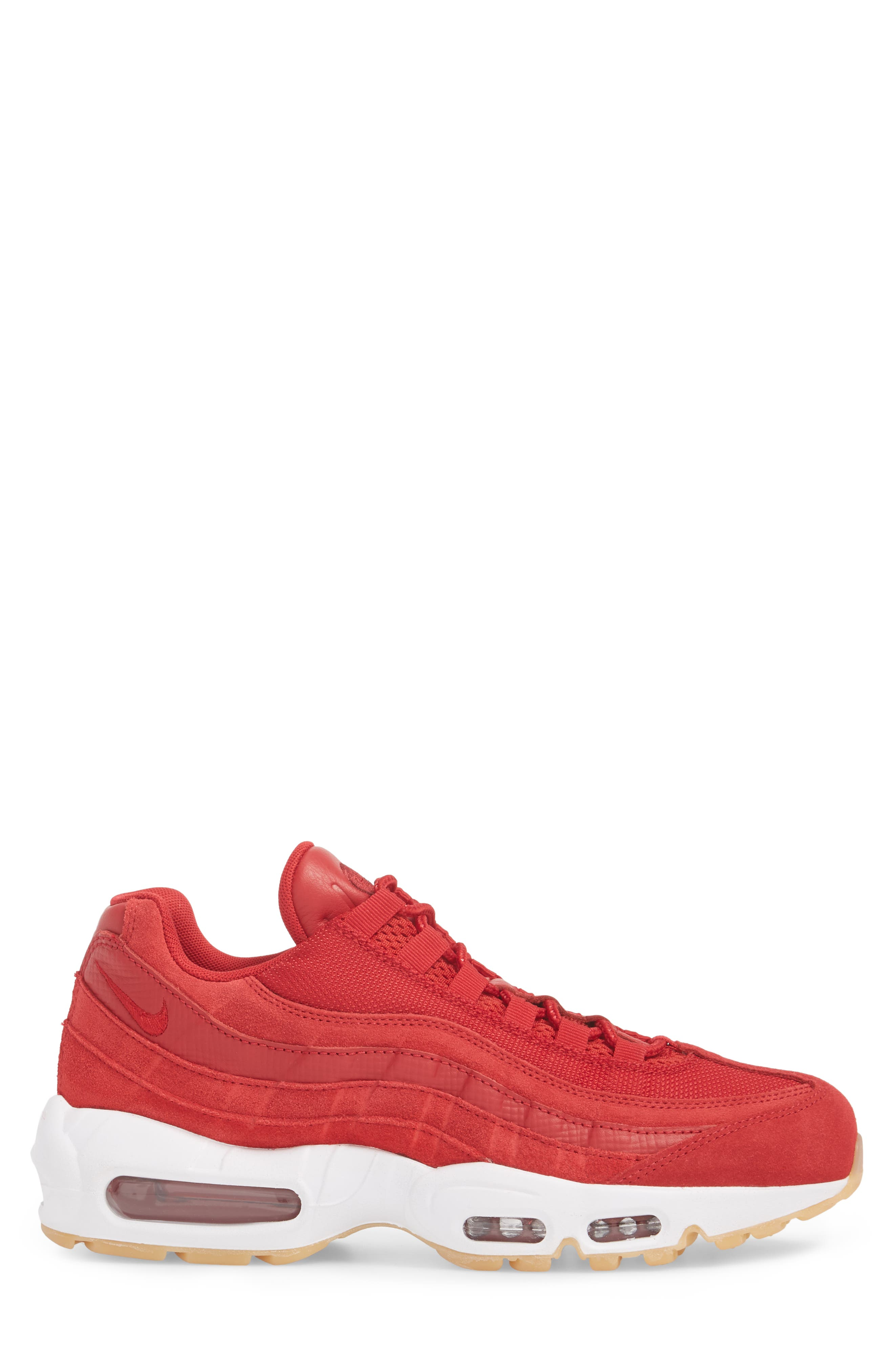 Air Max 95 Sneaker,                             Alternate thumbnail 3, color,                             GYM RED/ TEAM RED/ WHITE