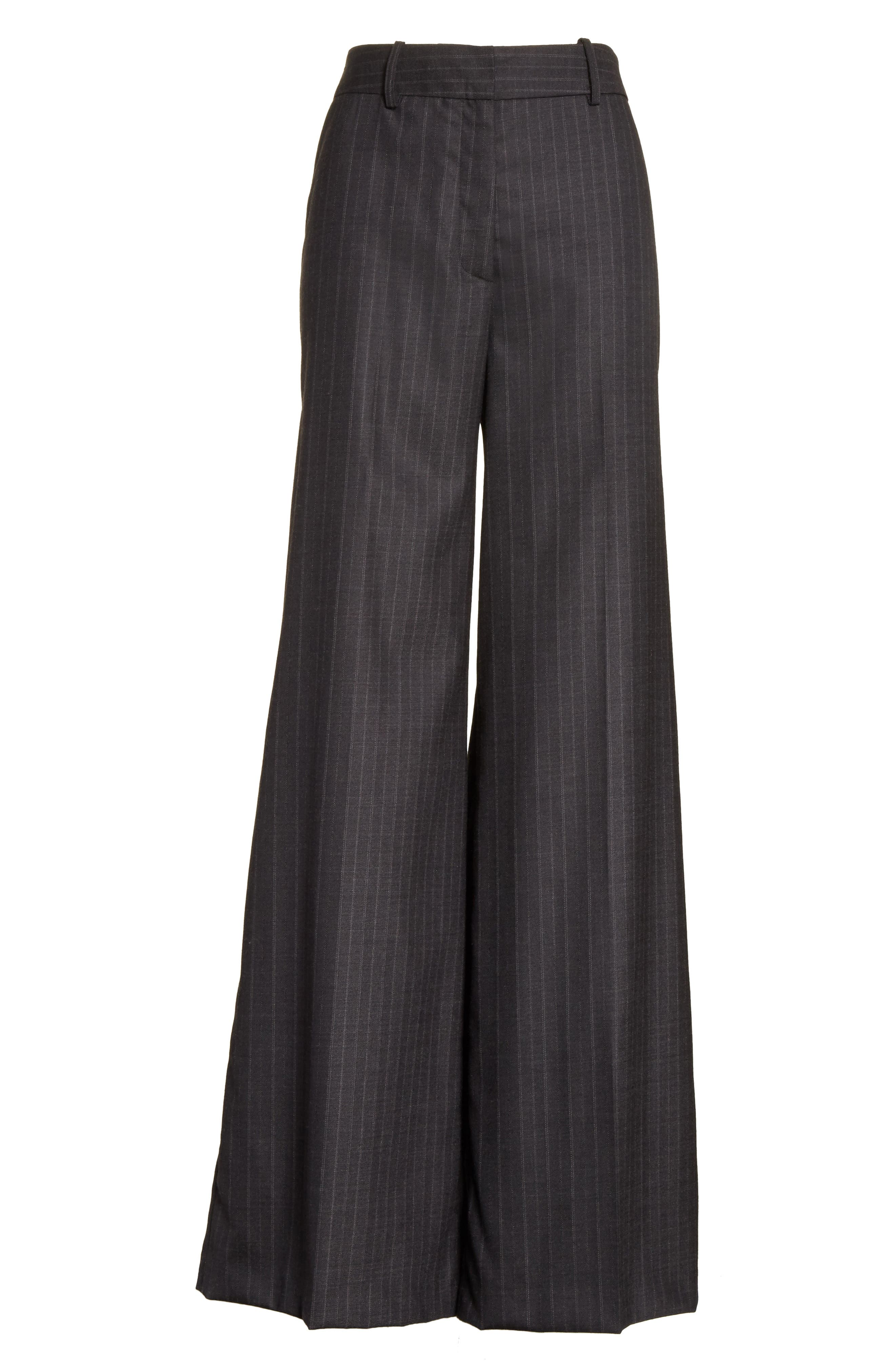 Sia Pinstripe Italian Stretch Wool Trousers,                             Alternate thumbnail 6, color,