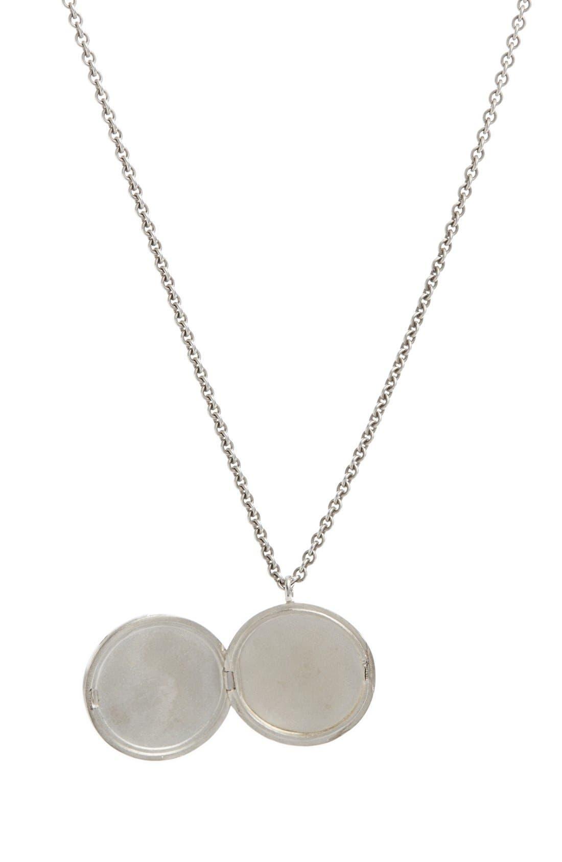 Black Onyx Medallion Necklace,                             Alternate thumbnail 2, color,                             SILVER