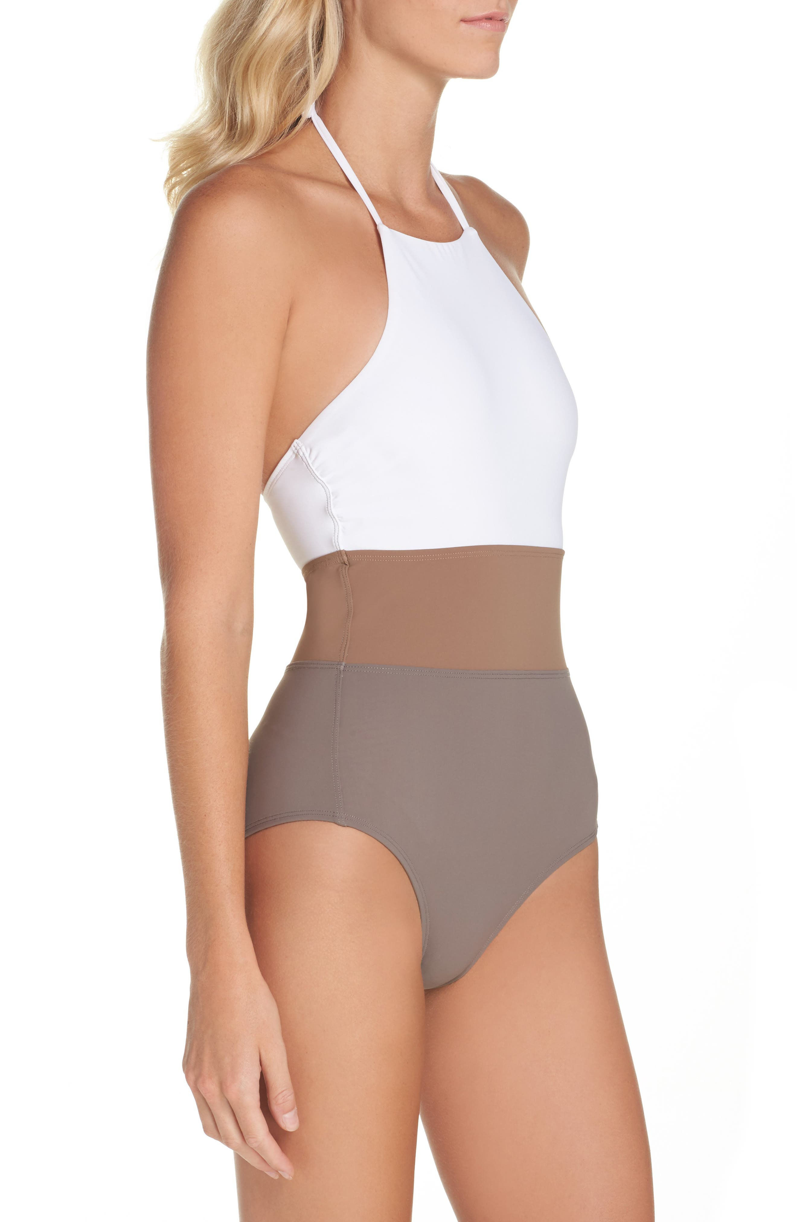 Halter One-Piece Swimsuit,                             Alternate thumbnail 3, color,                             100