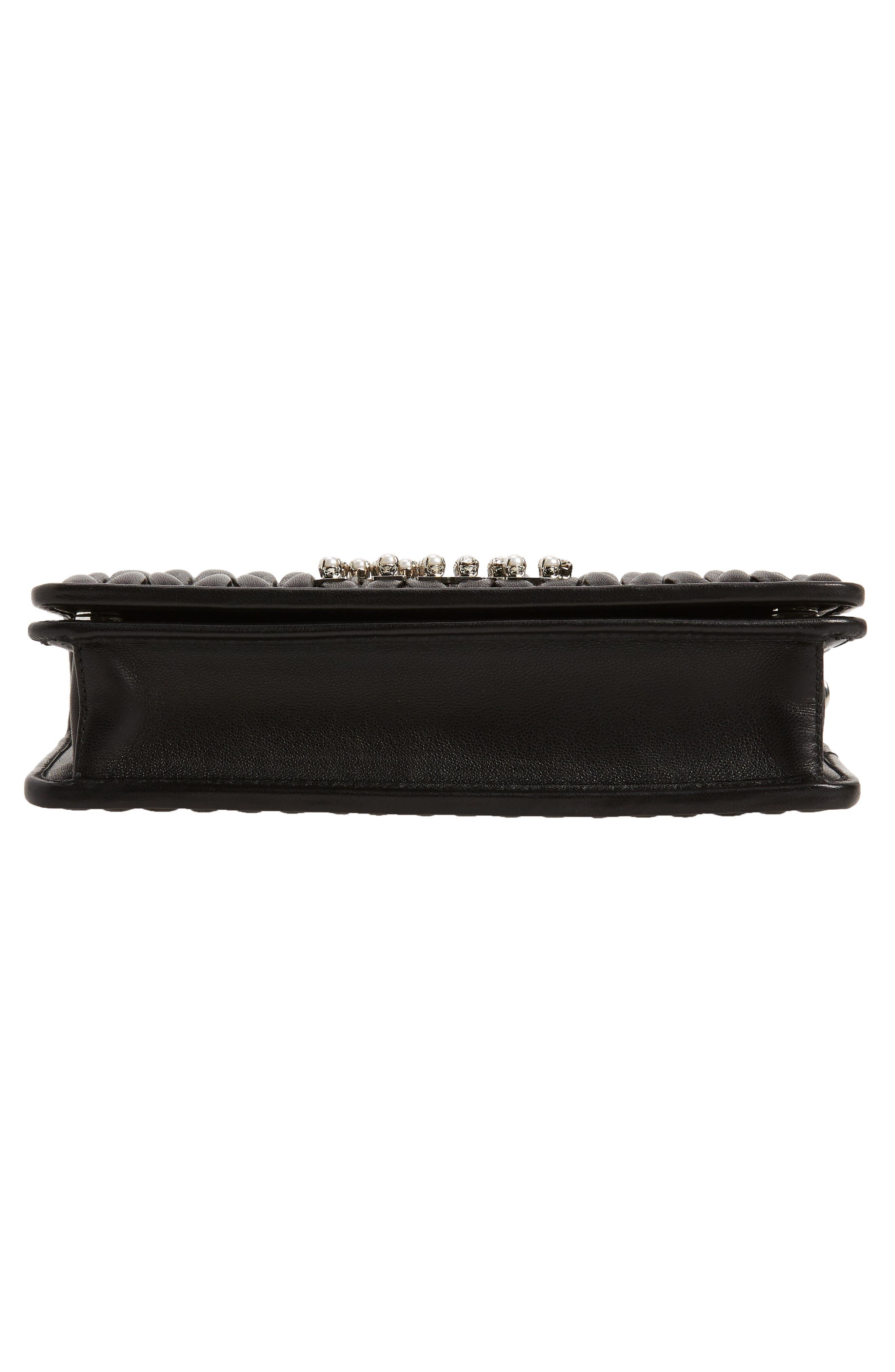 Matelassé Leather Wallet on a Chain,                             Alternate thumbnail 7, color,                             NERO