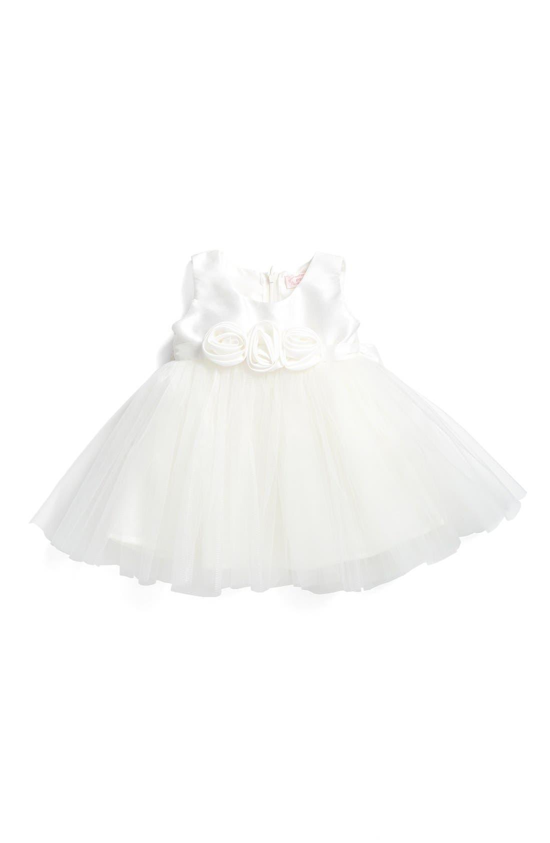 Rosette Fit & Flare Dress,                             Main thumbnail 1, color,                             WHITE