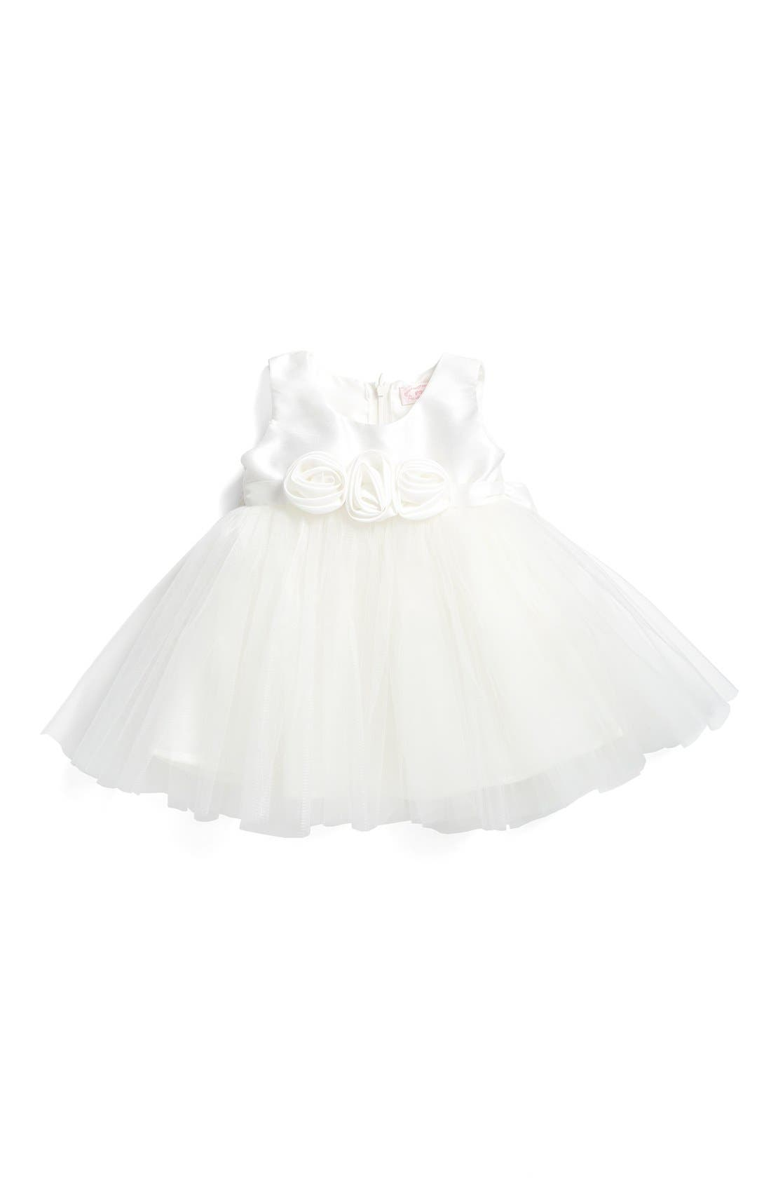 Rosette Fit & Flare Dress,                         Main,                         color, WHITE