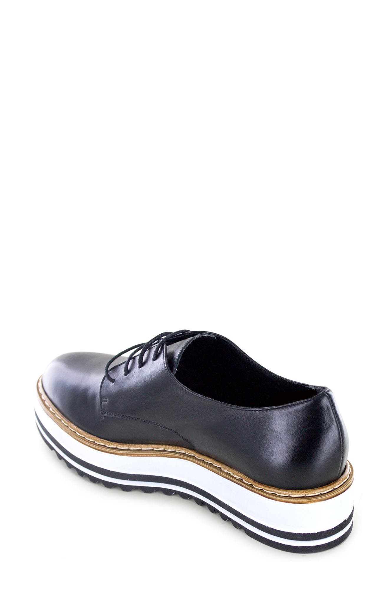 by White Mountain Belinda Platform Oxford,                             Alternate thumbnail 4, color,                             BLACK LEATHER