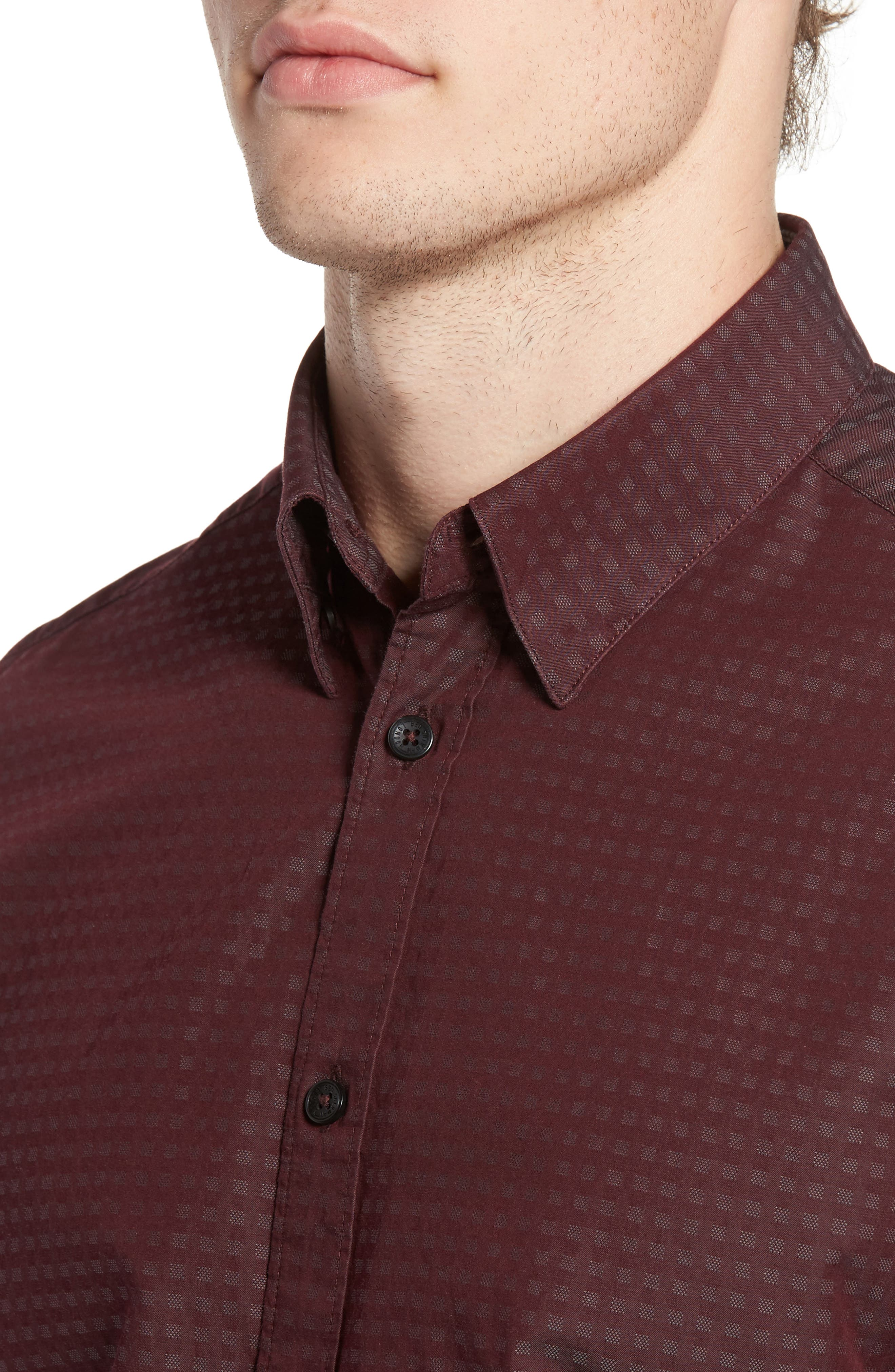 Dobby Checkerboard Woven Shirt,                             Alternate thumbnail 4, color,