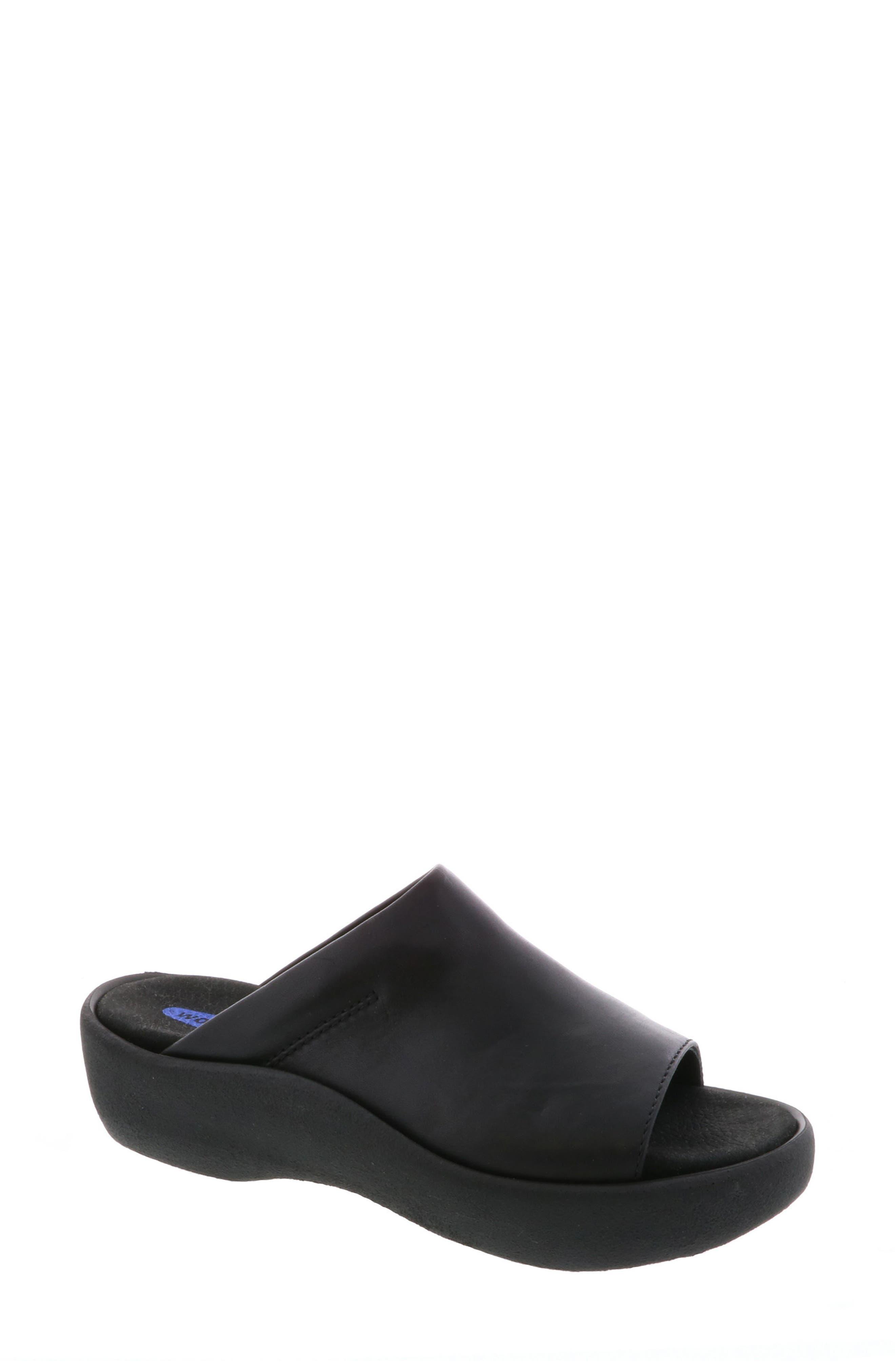 Nassau Slide Sandal,                         Main,                         color, BLACK SMOOTH LEATHER