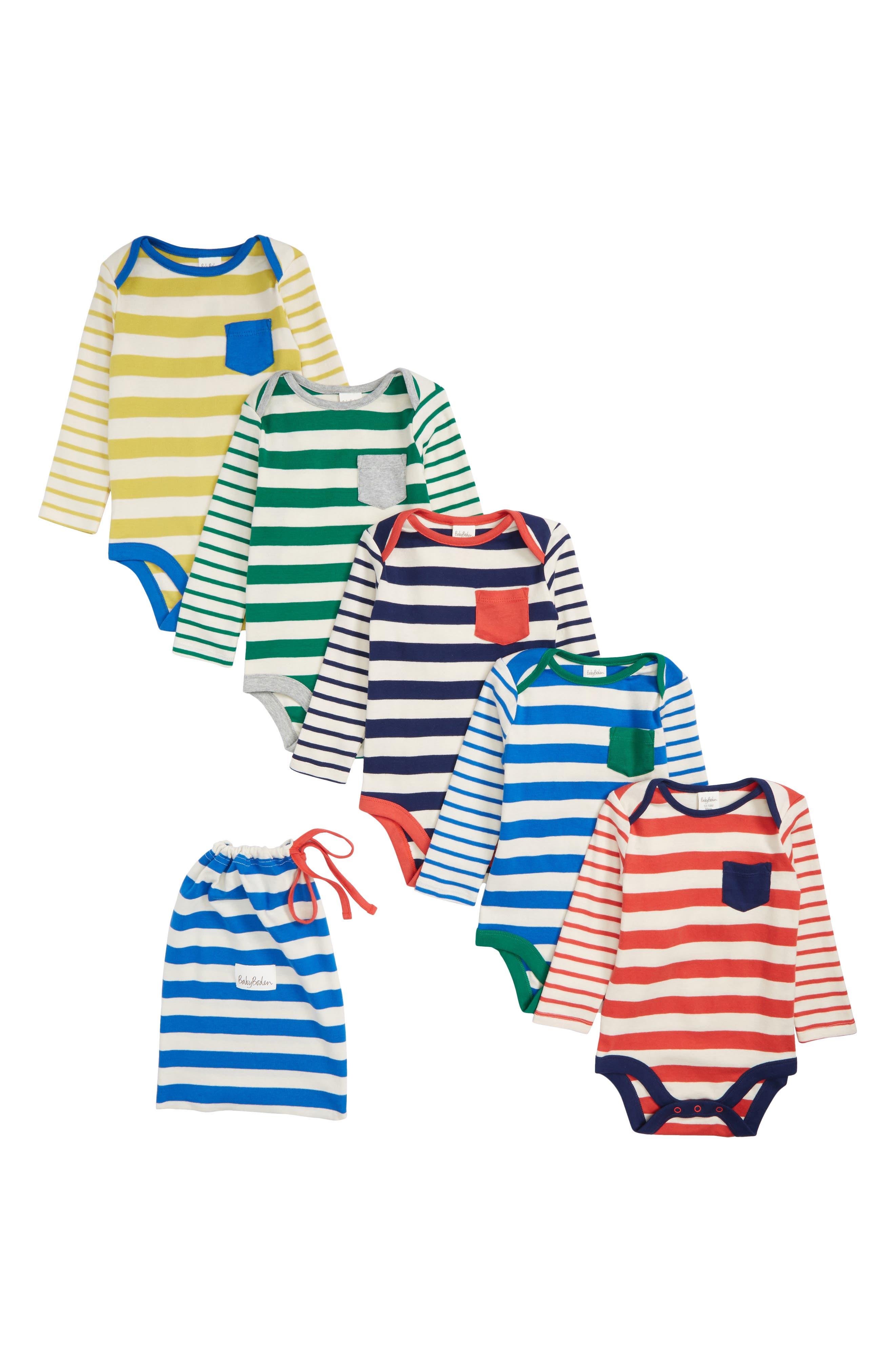 Stripy 5-Pack Cotton Bodysuits,                             Main thumbnail 1, color,                             491