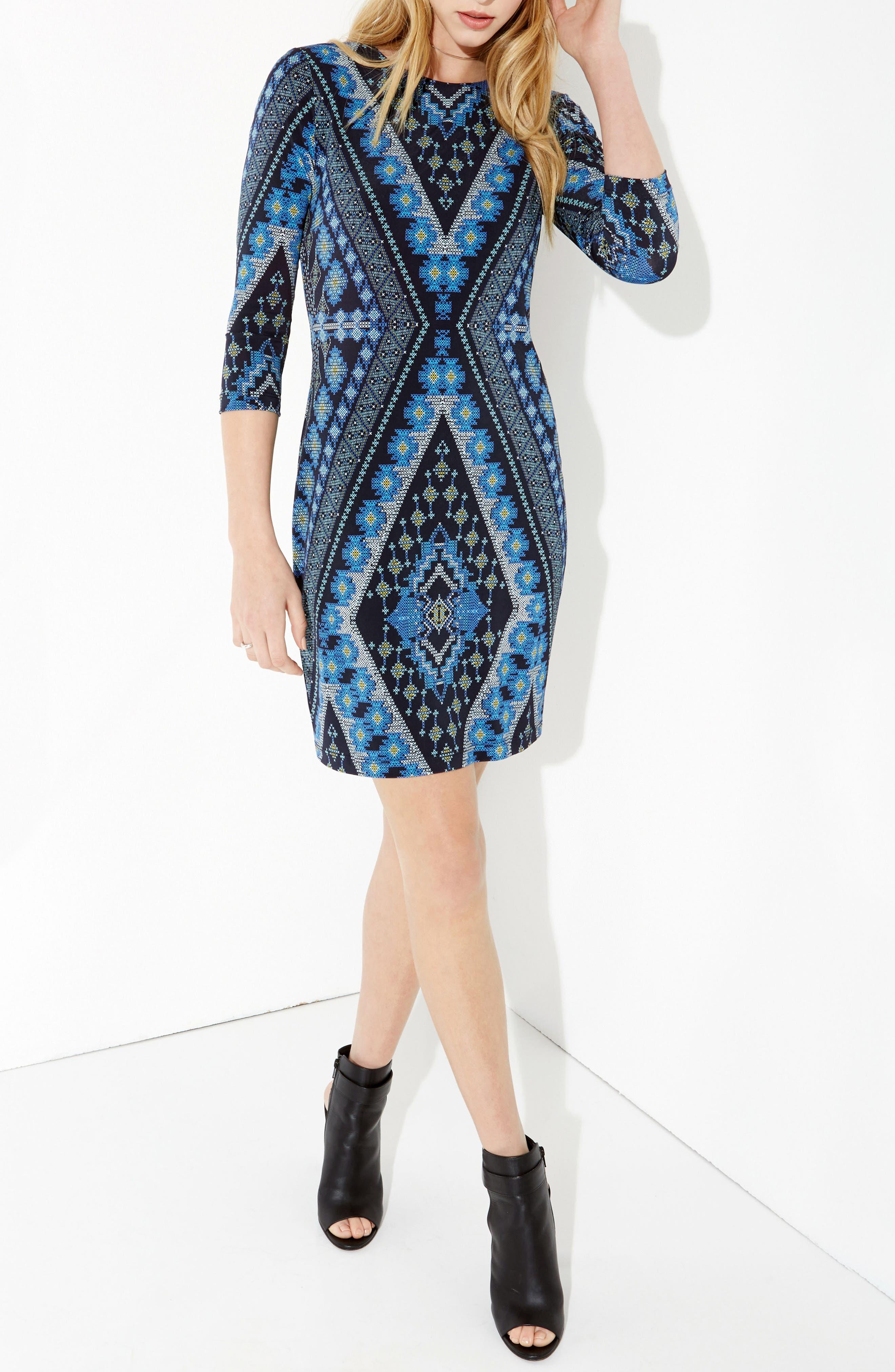 Diamond Print Jersey Sheath Dress,                             Alternate thumbnail 3, color,                             560