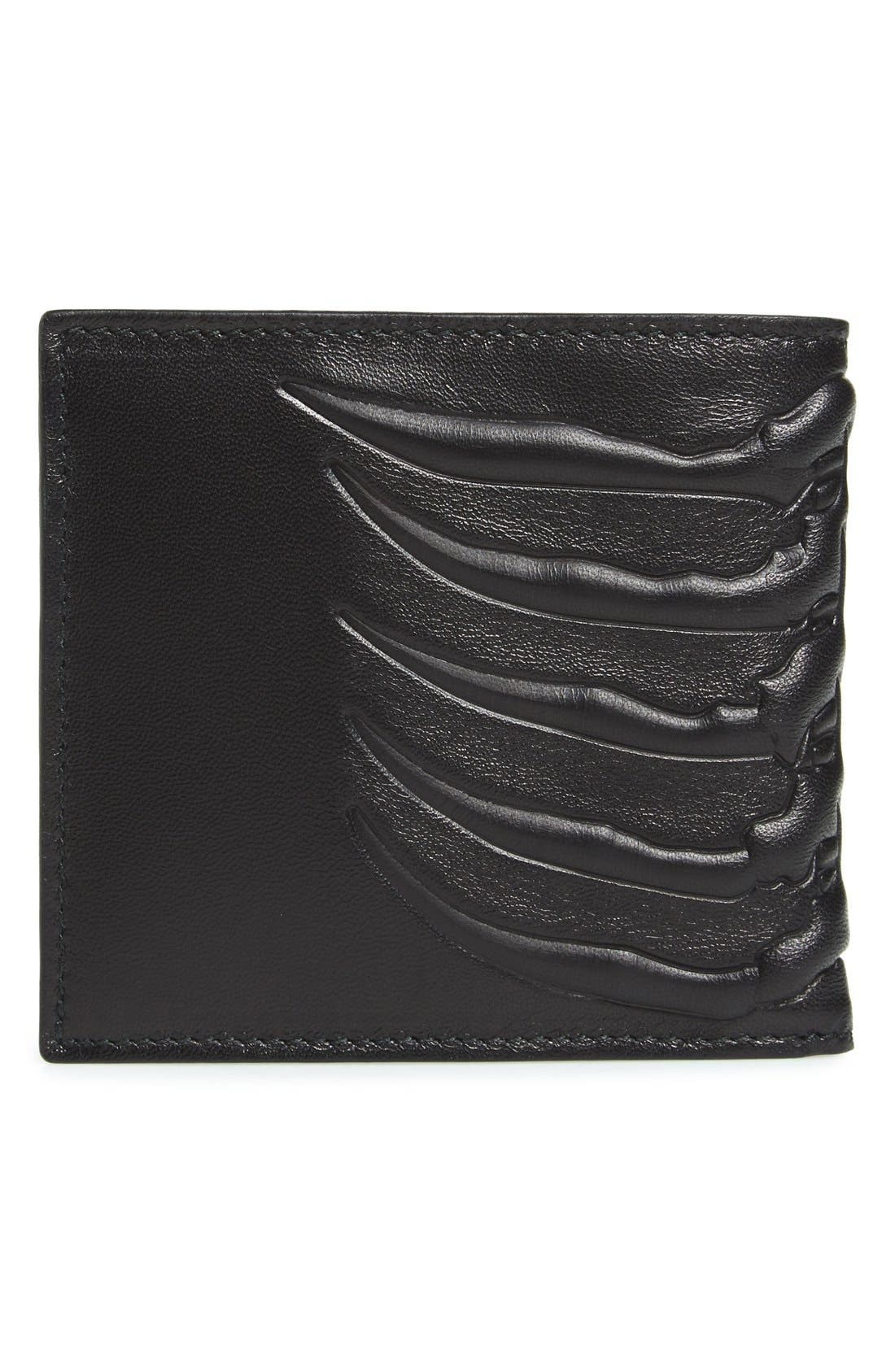 Rib Cage Leather Wallet,                             Alternate thumbnail 3, color,                             BLACK