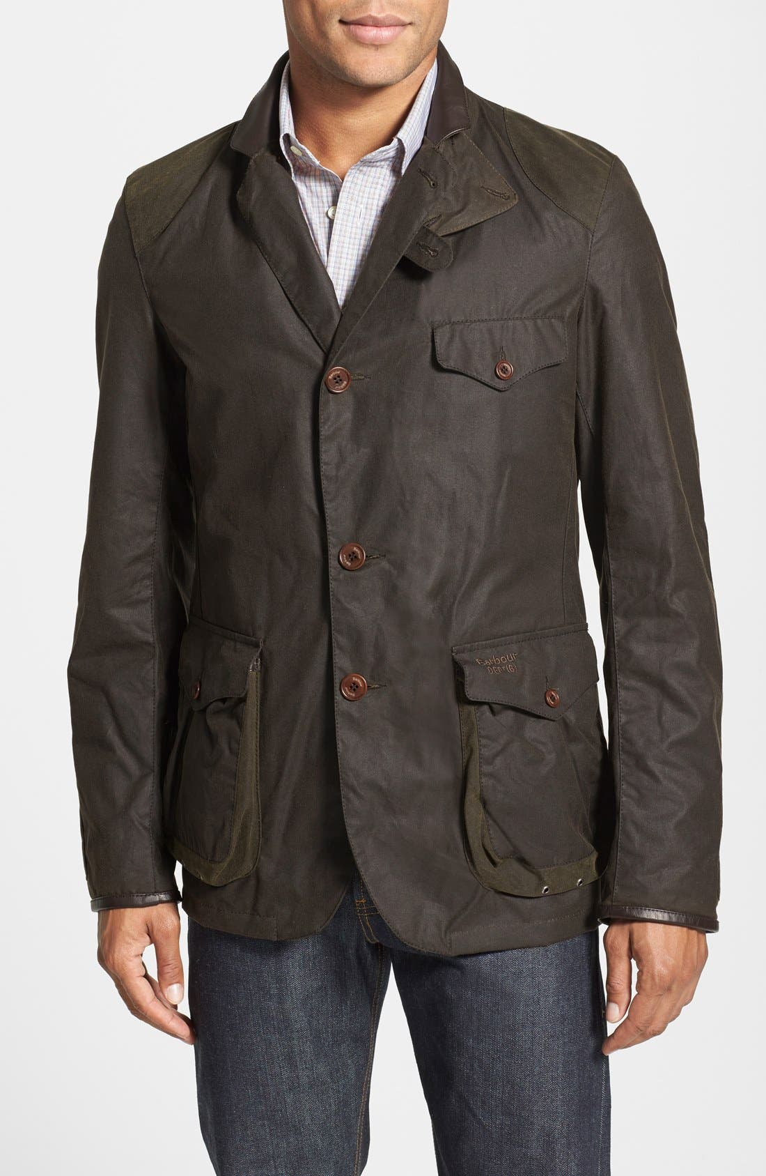 'Beacon' Slim Fit Waxed Cotton Sport Jacket, Main, color, 340