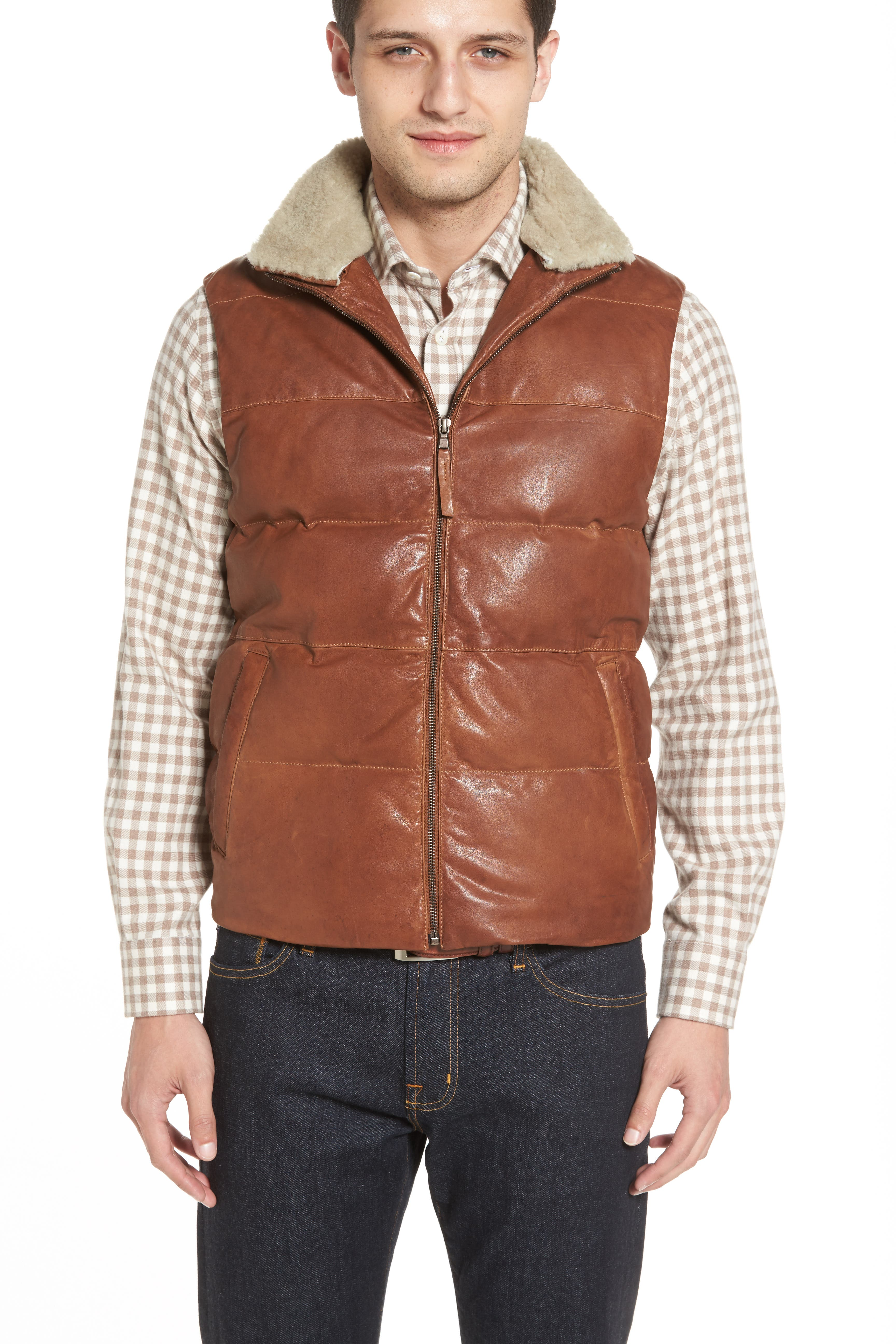Quilted Leather Vest with Removable Genuine Shearling Collar,                             Alternate thumbnail 5, color,                             210