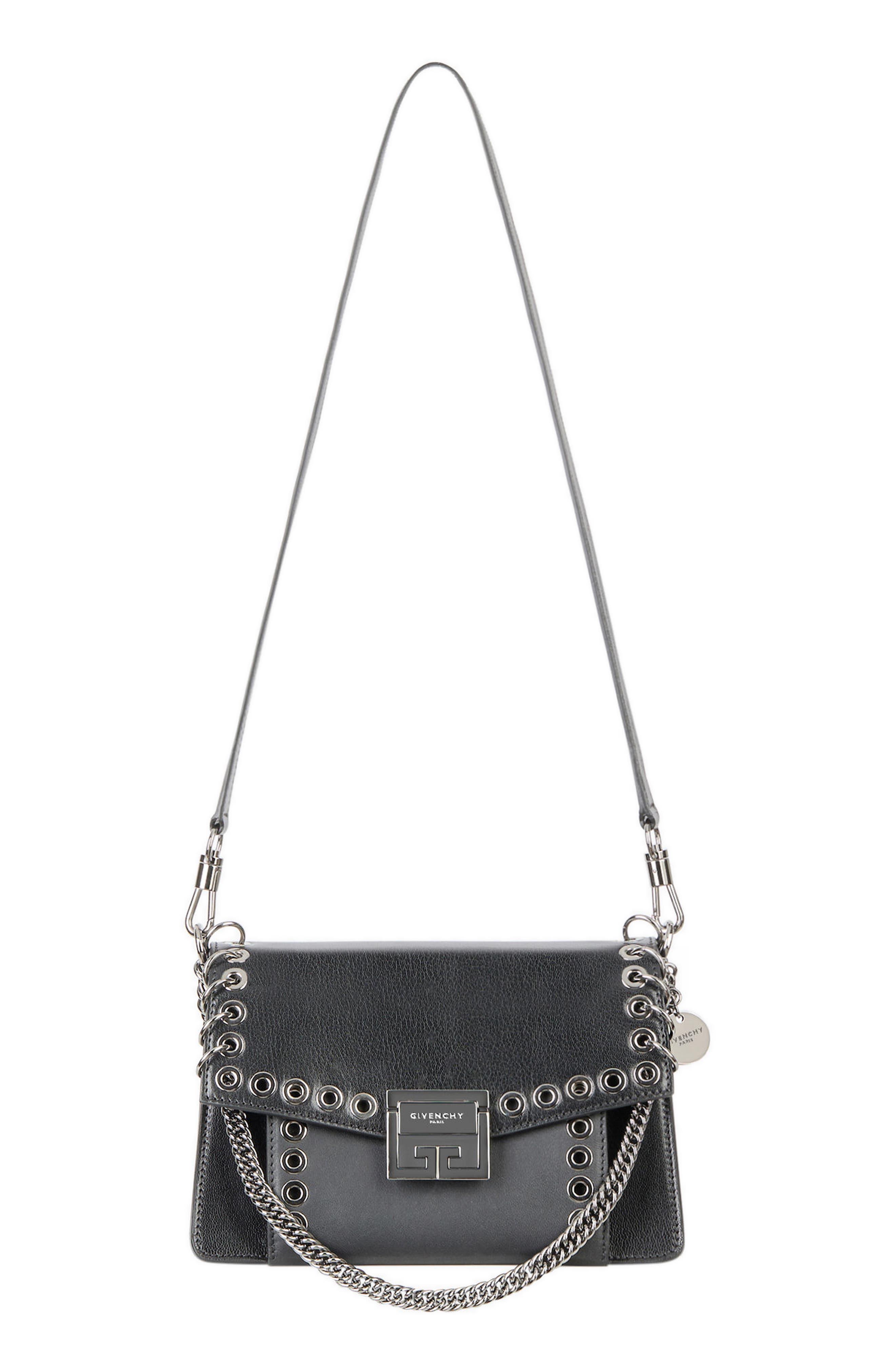 GIVENCHY,                             GV3 Eyelet and Rings Leather Shoulder Bag,                             Alternate thumbnail 7, color,                             BLACK