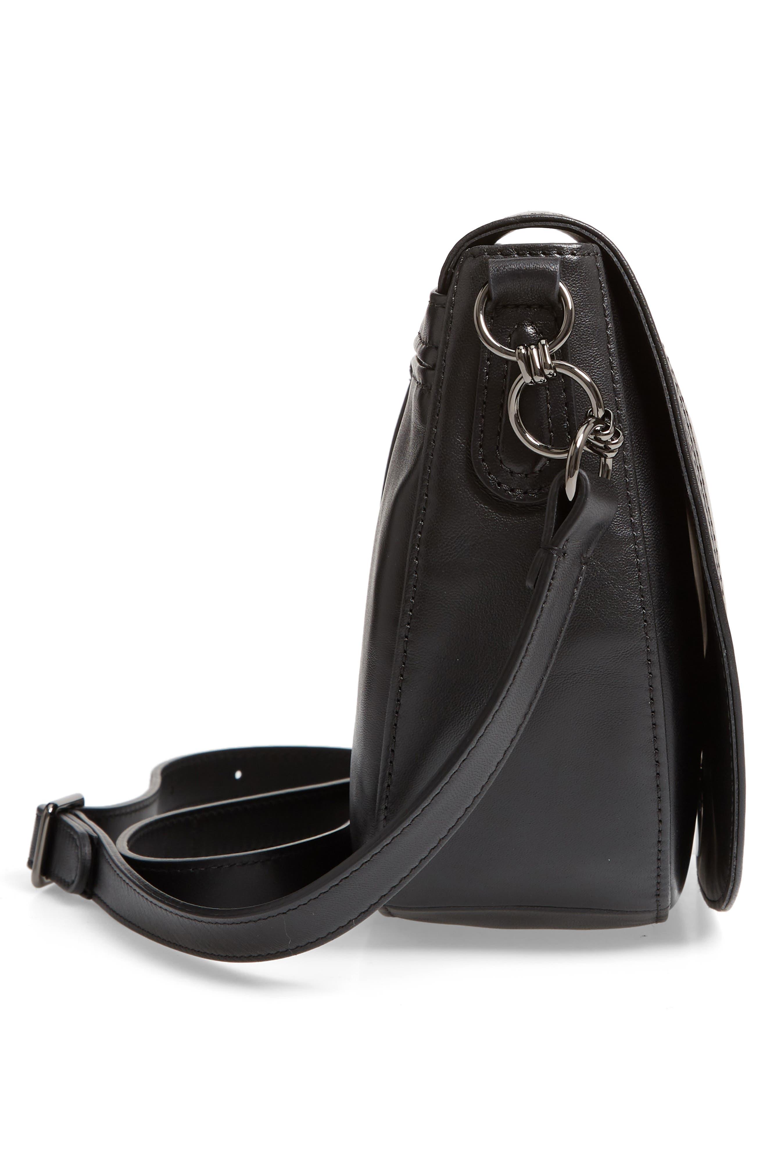 Medium Cavalcade Leather Saddle Bag,                             Alternate thumbnail 5, color,                             BLACK