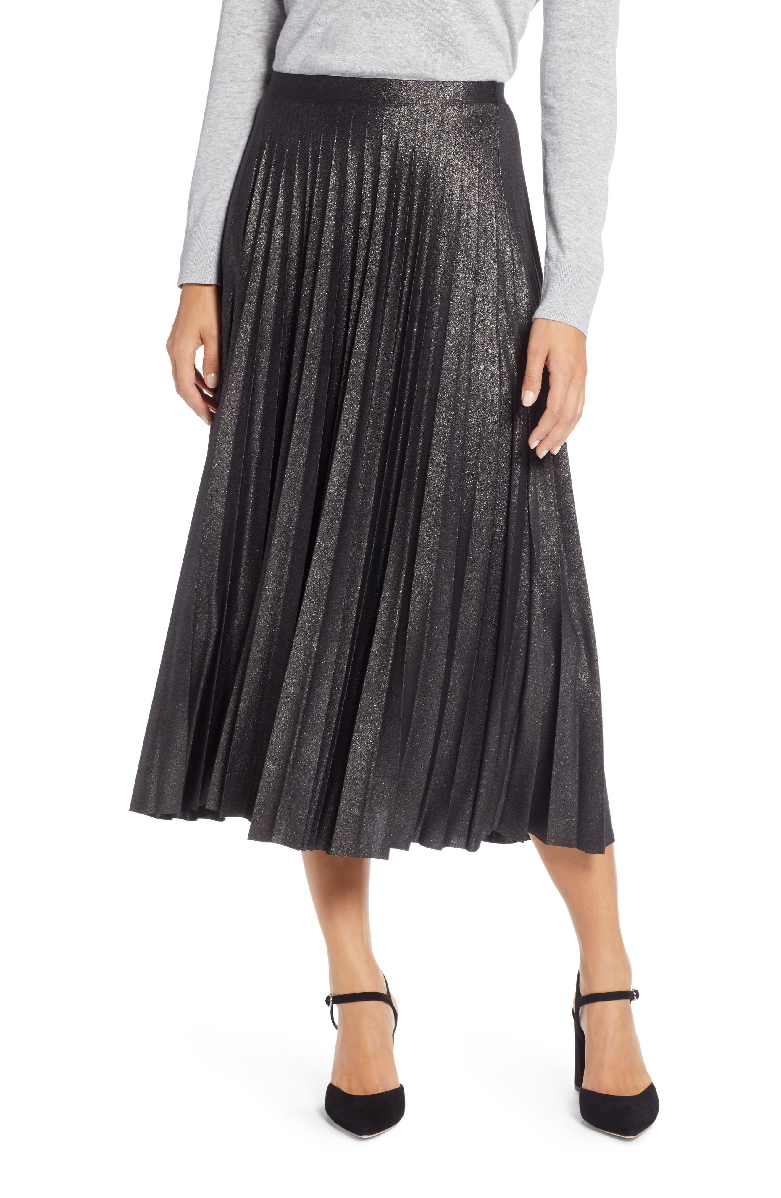Metallic Pleat Midi Skirt,                             Main thumbnail 1, color,                             BLACK FOIL