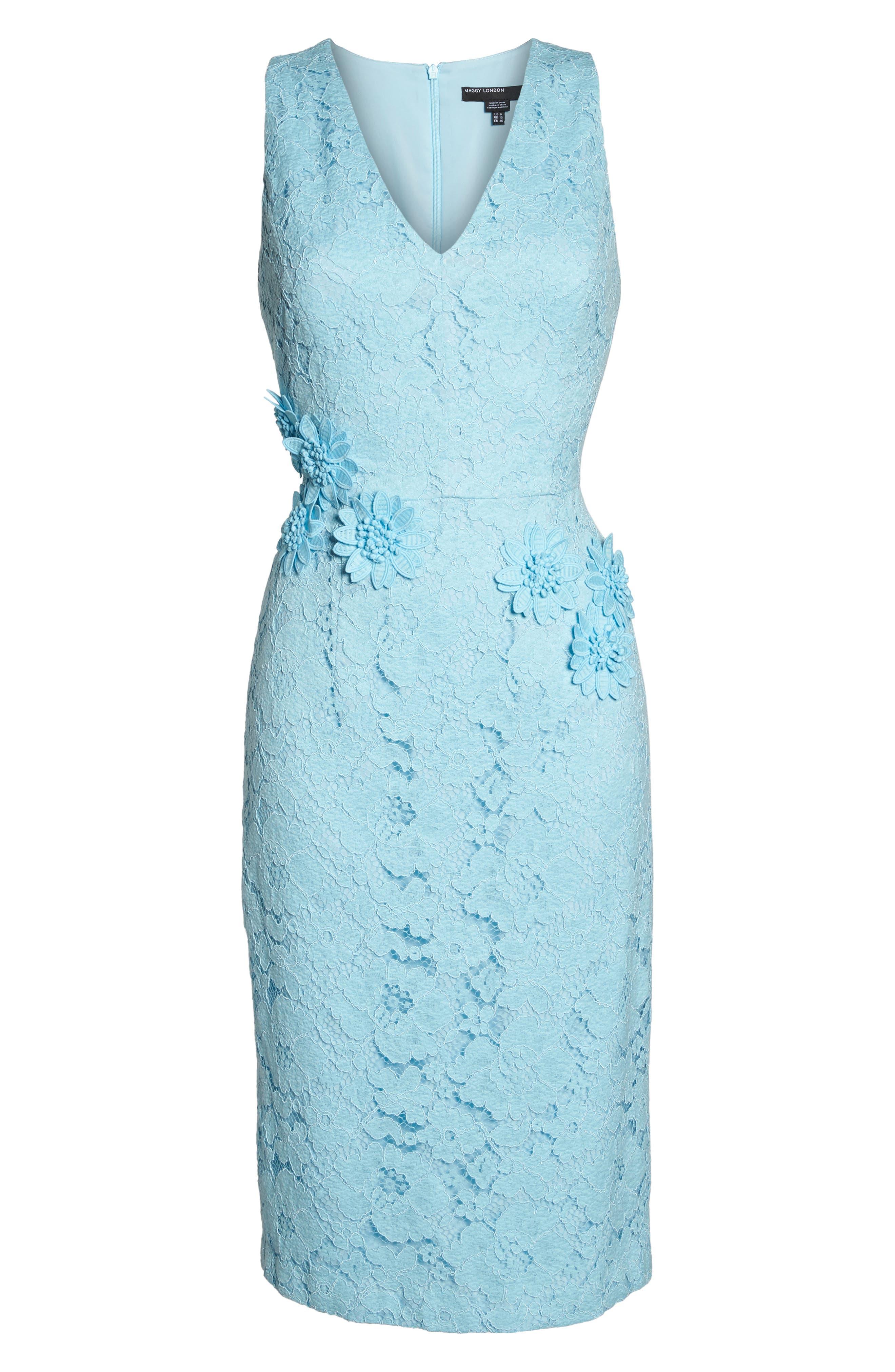 Appliqué Lace Sheath Dress,                             Alternate thumbnail 6, color,                             460