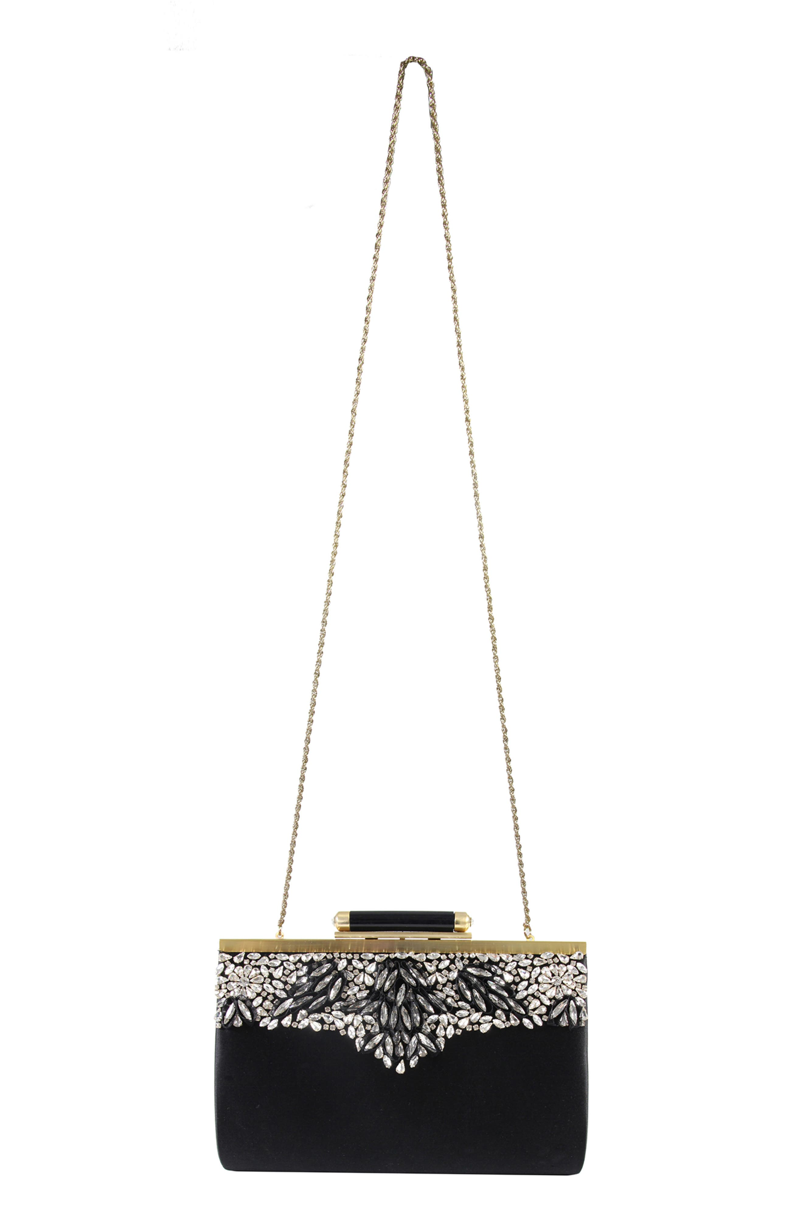 Gala Embellished Frame Clutch,                             Alternate thumbnail 4, color,                             001