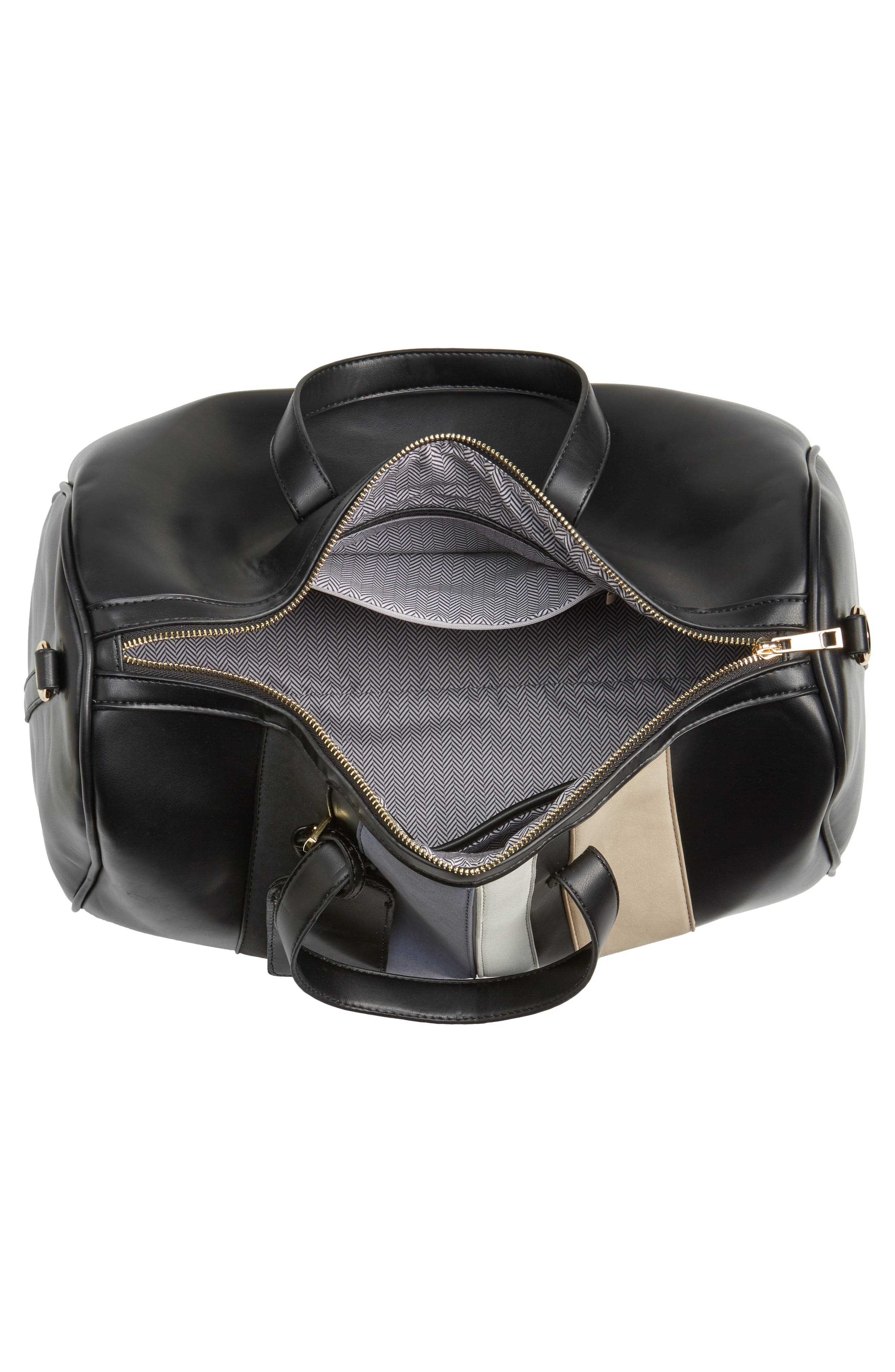 Stripe Faux Leather Duffel Bag,                             Alternate thumbnail 4, color,                             001