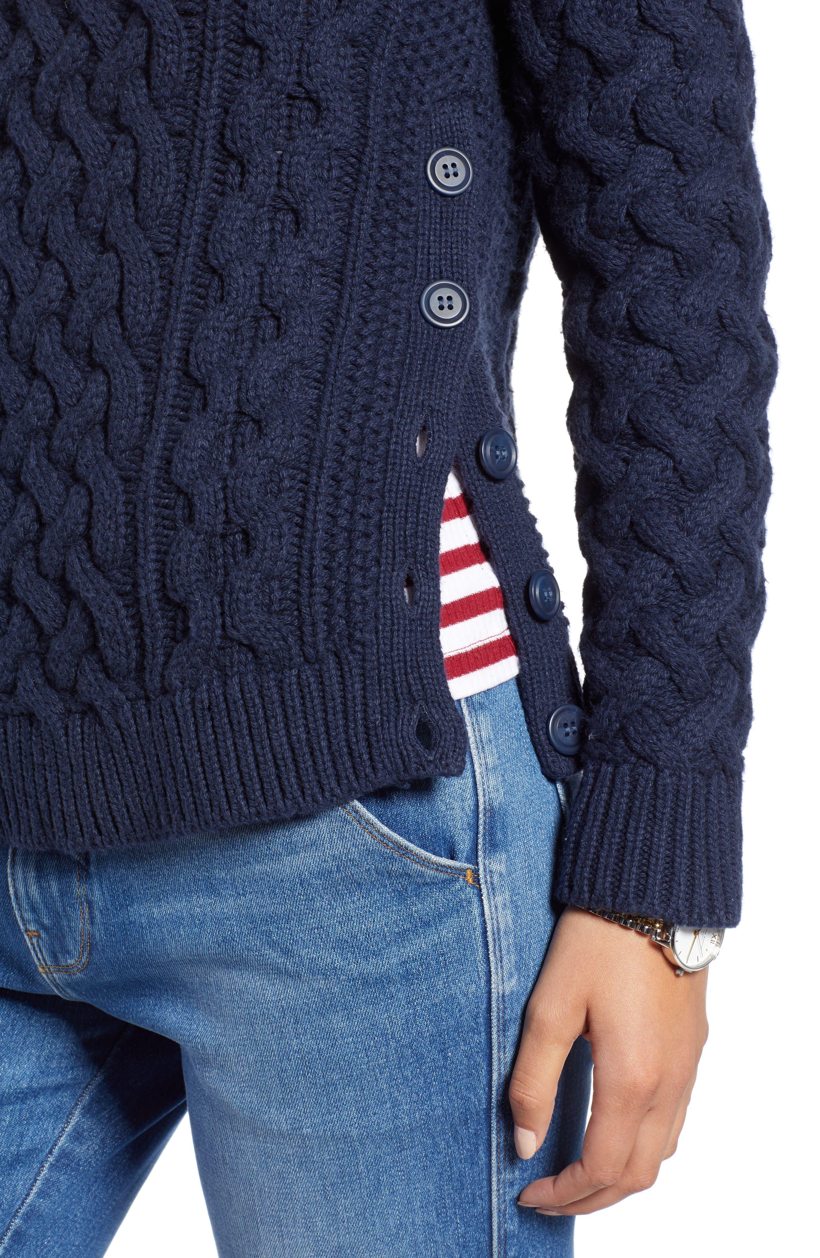 Fisherwoman Crewneck Pullover Sweater,                             Alternate thumbnail 4, color,                             NAVY BLAZER