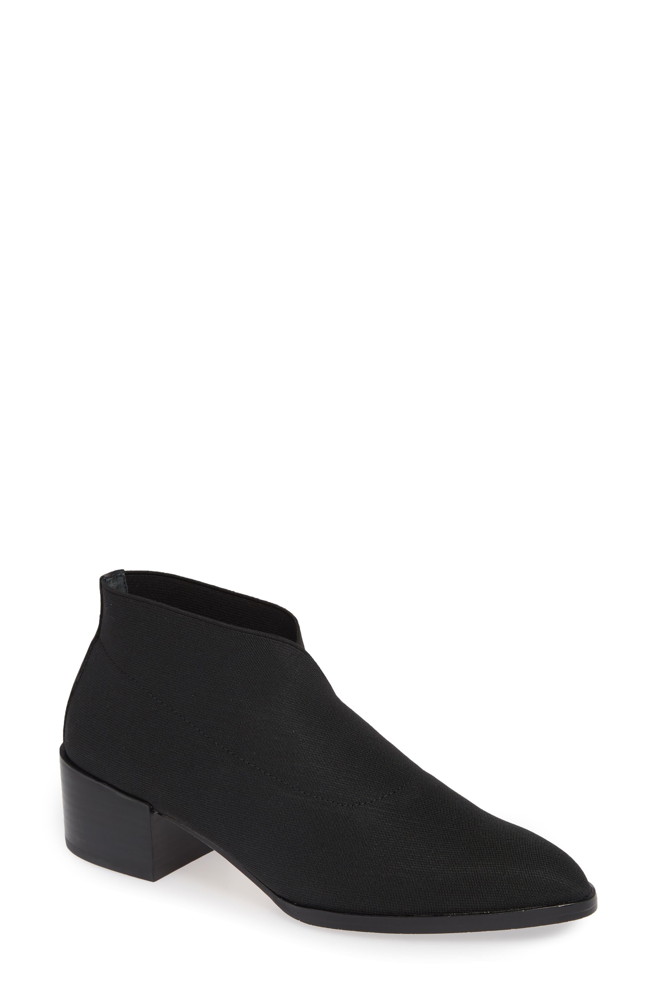 Women'S Daved Almond Toe Elastic Ankle Booties in Black Elastic