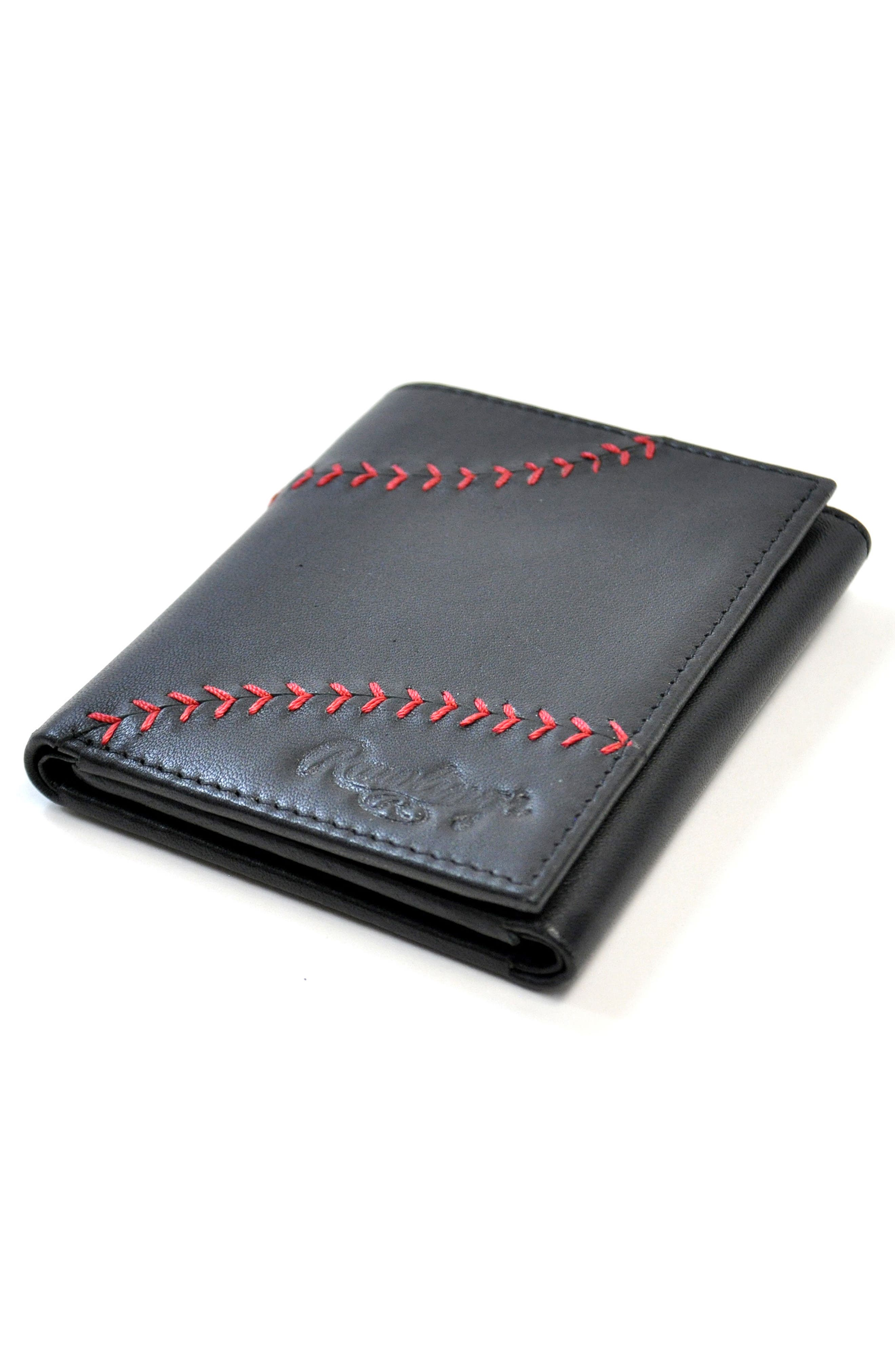 Baseball Stitch Leather Trifold Wallet,                             Alternate thumbnail 7, color,                             001