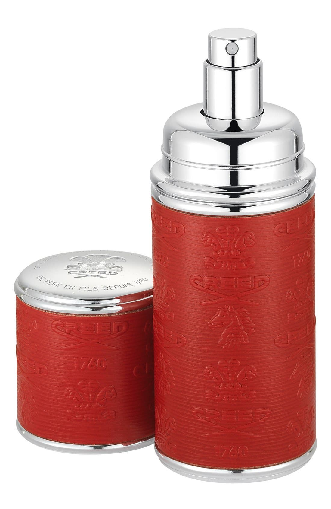 Red with Silver Trim Leather Atomizer,                         Main,                         color, NO COLOR