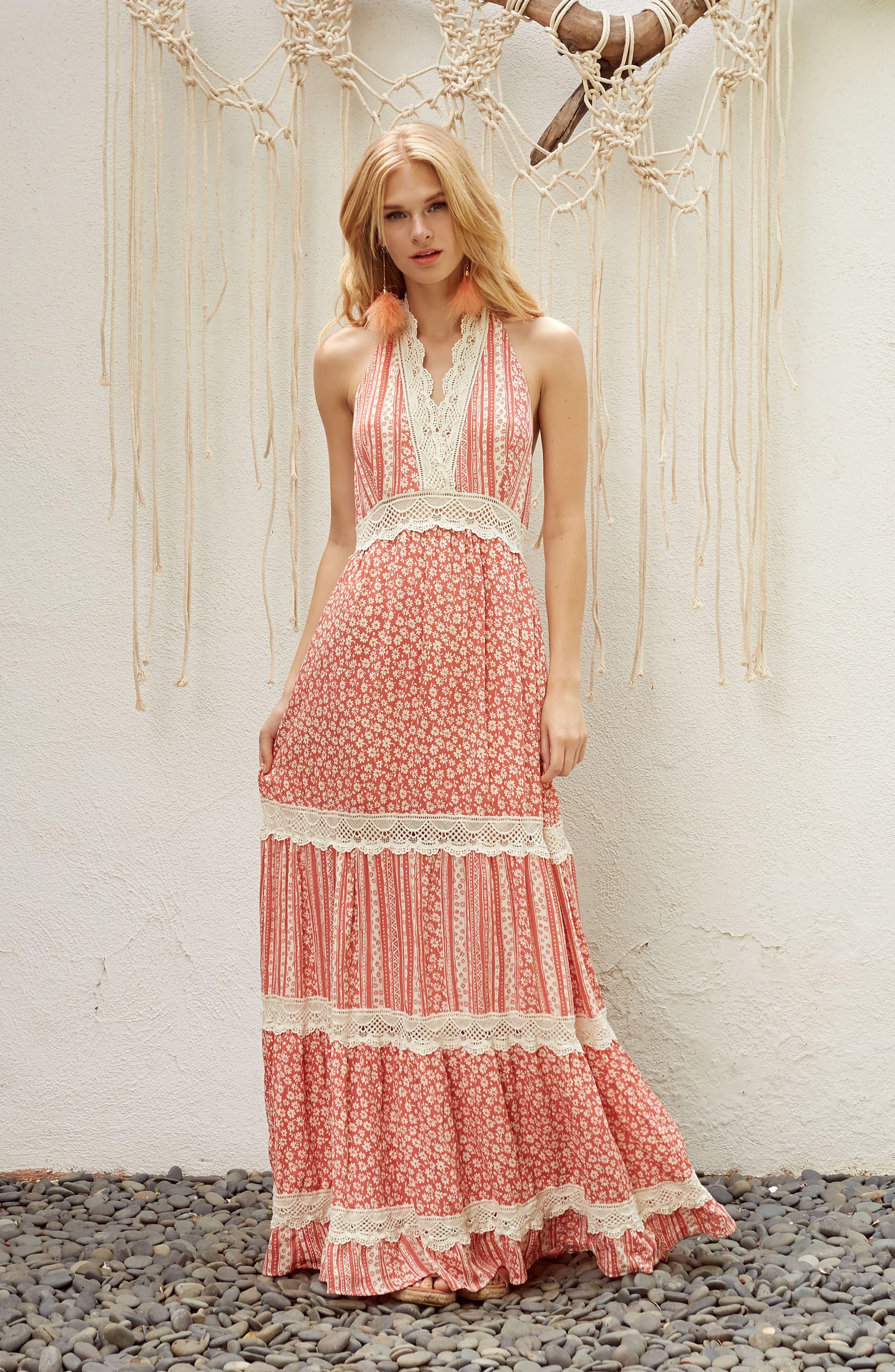Sun's Out Halter Maxi Dress,                             Alternate thumbnail 9, color,                             951