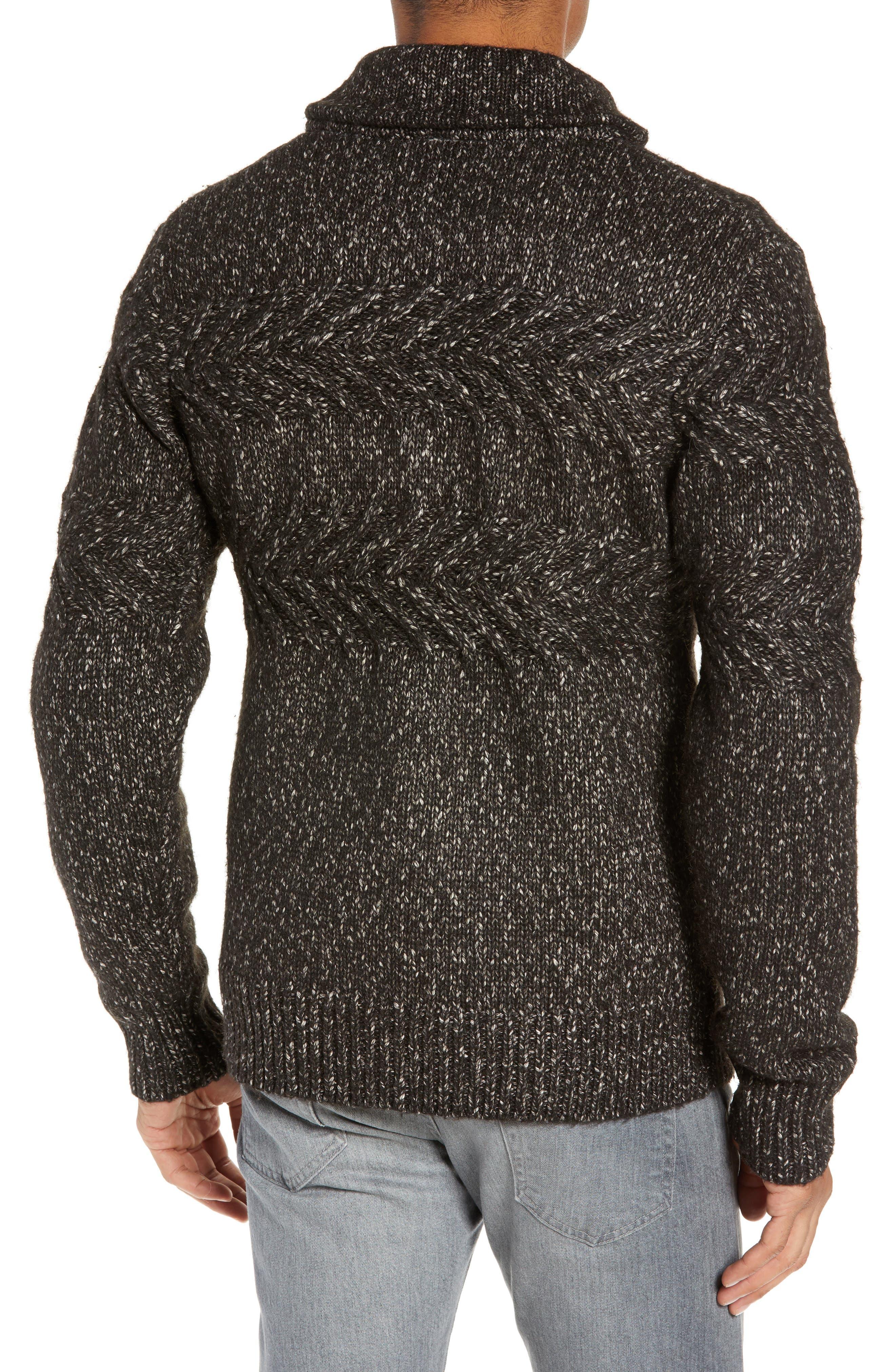 SCHOTT NYC,                             Heathered Shawl Collar Sweater,                             Alternate thumbnail 2, color,                             BLACK