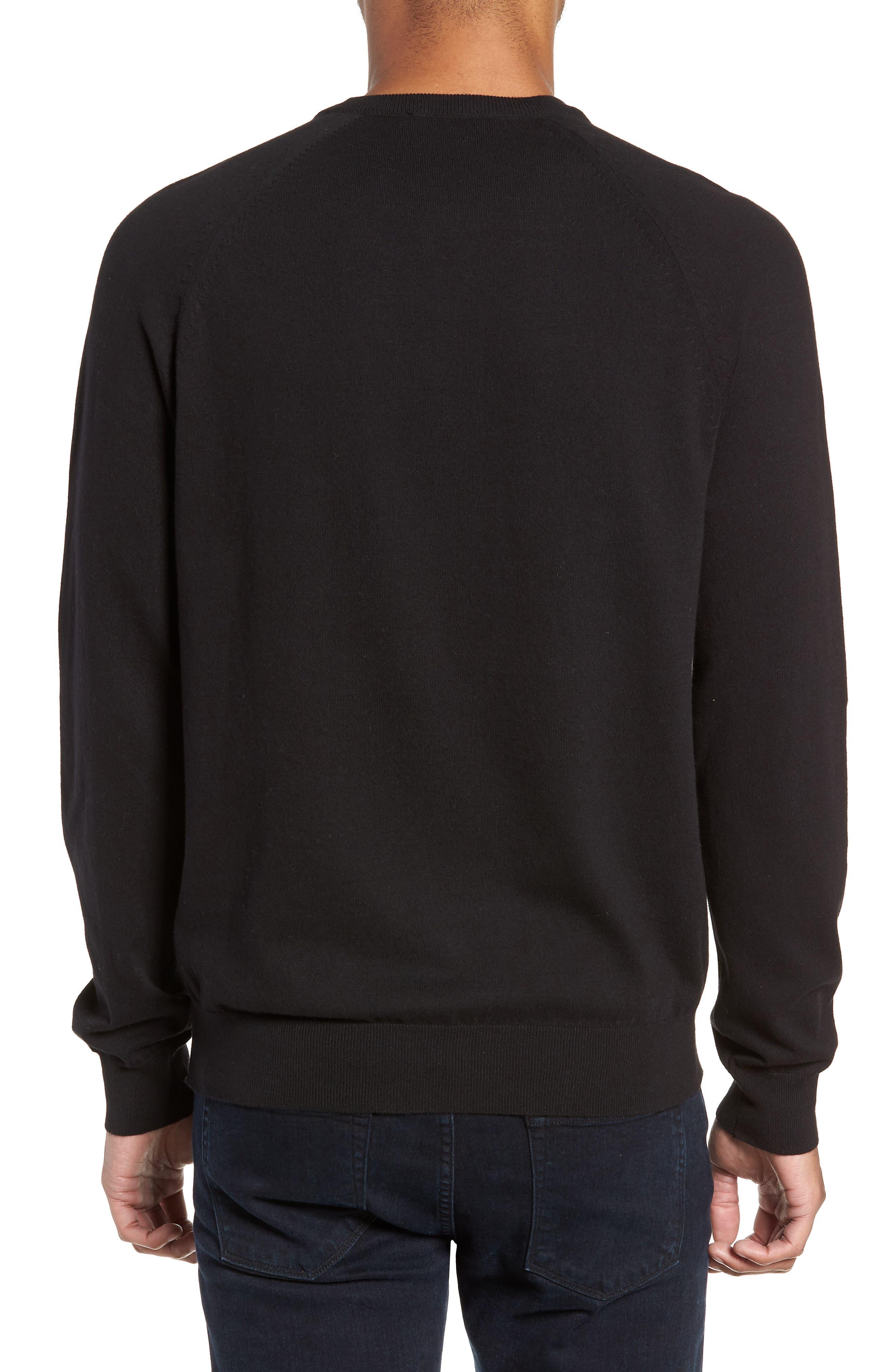 Regular Fit Stretch Cotton Crewneck Sweater,                             Alternate thumbnail 2, color,                             BLACK