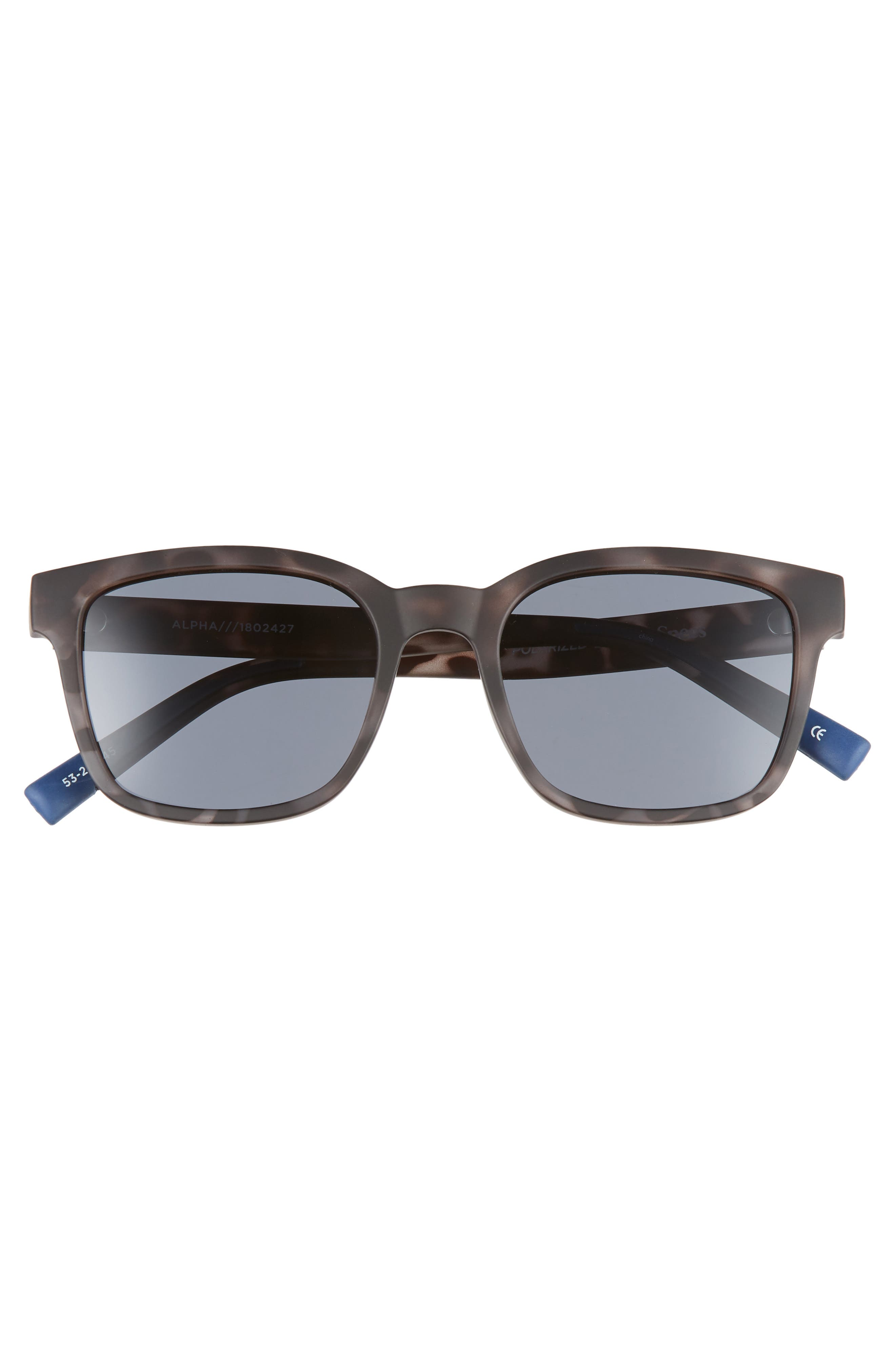 Alpha Basic 53mm Polarized Rectangular Sunglasses,                             Alternate thumbnail 3, color,                             MATTE COAL TORT