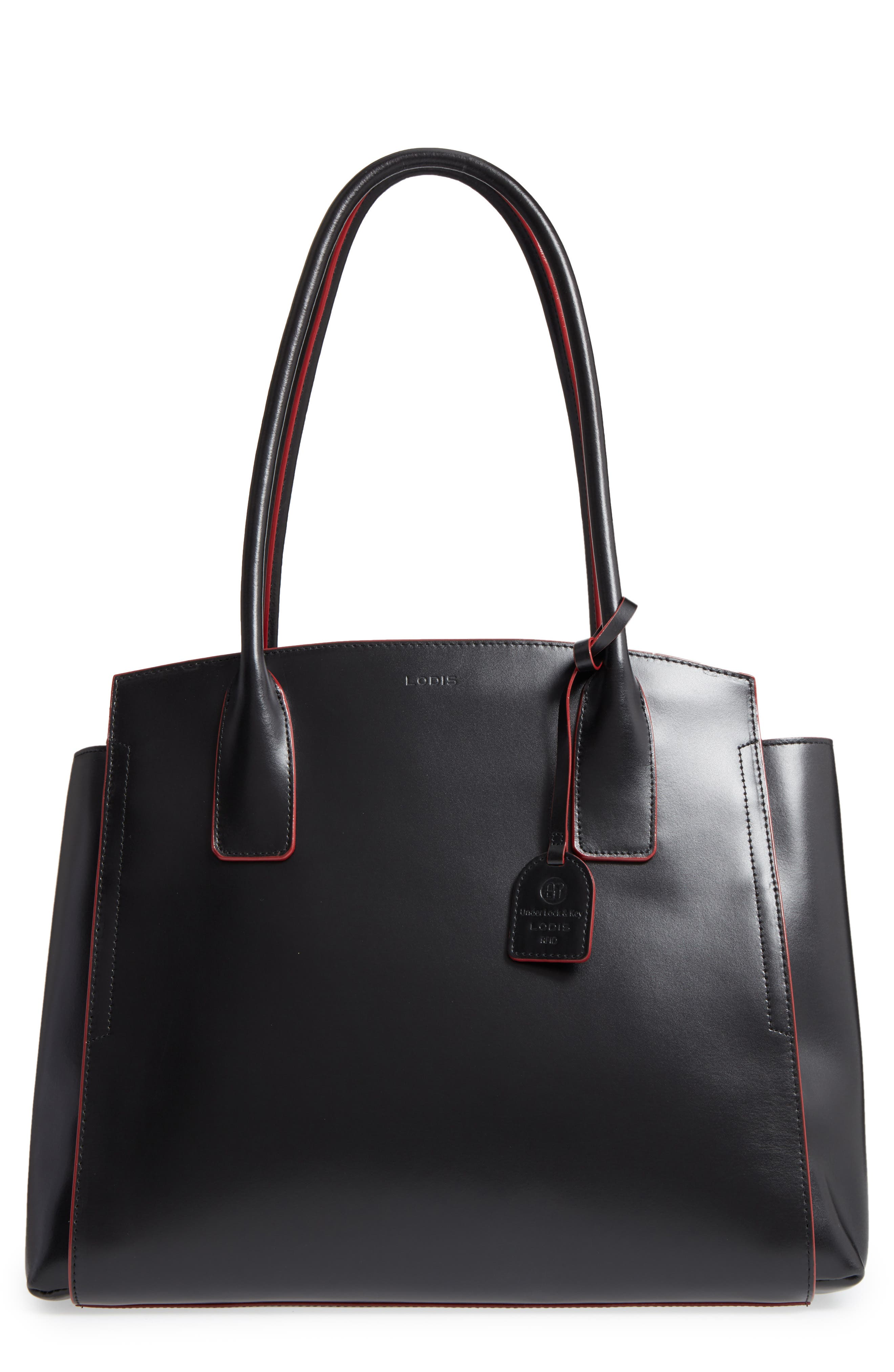 Audrey Under Lock & Key - Zola RFID Leather Tote,                         Main,                         color, BLACK