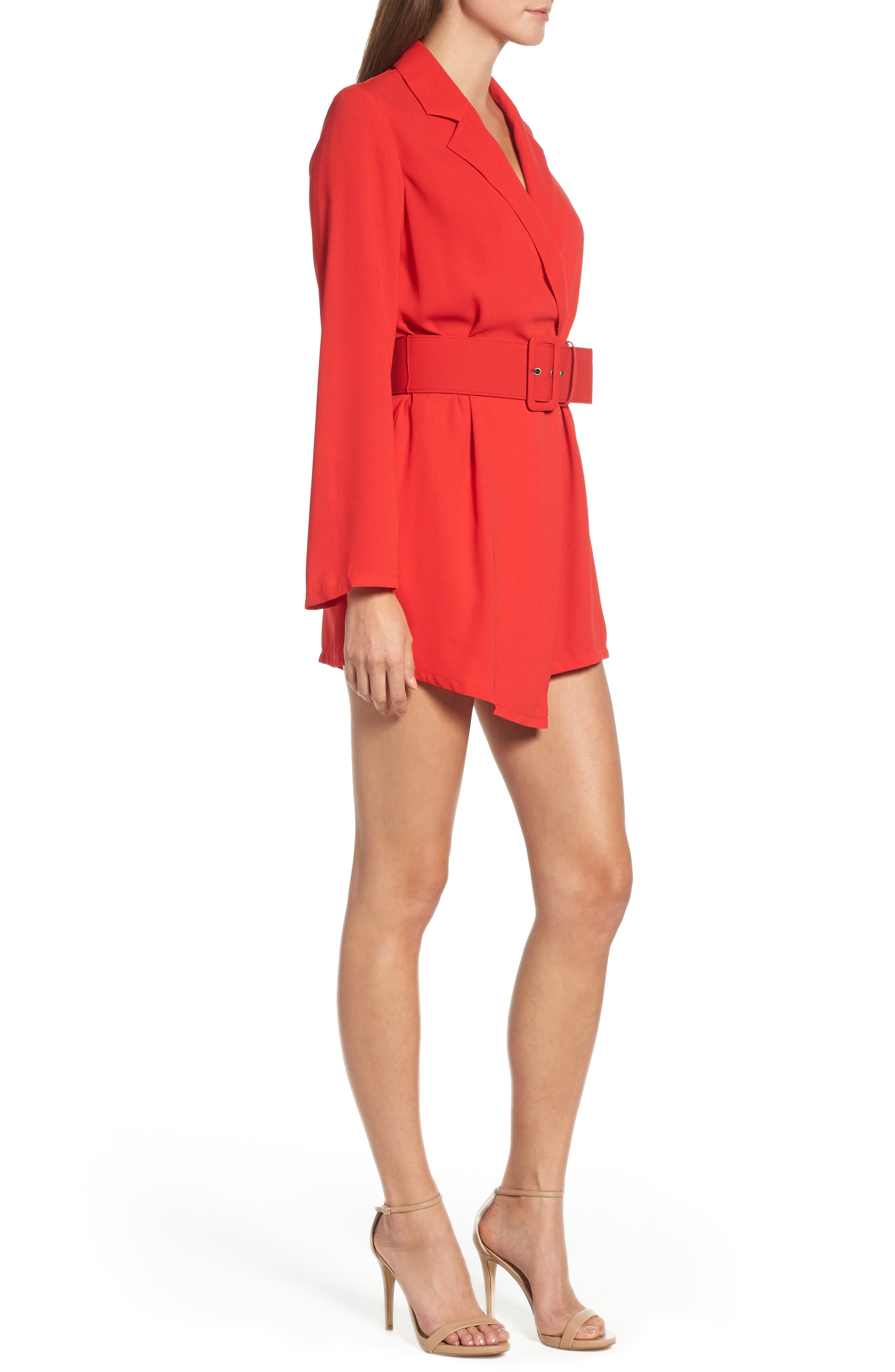 Belted Romper,                             Alternate thumbnail 3, color,                             RED CHINOISE