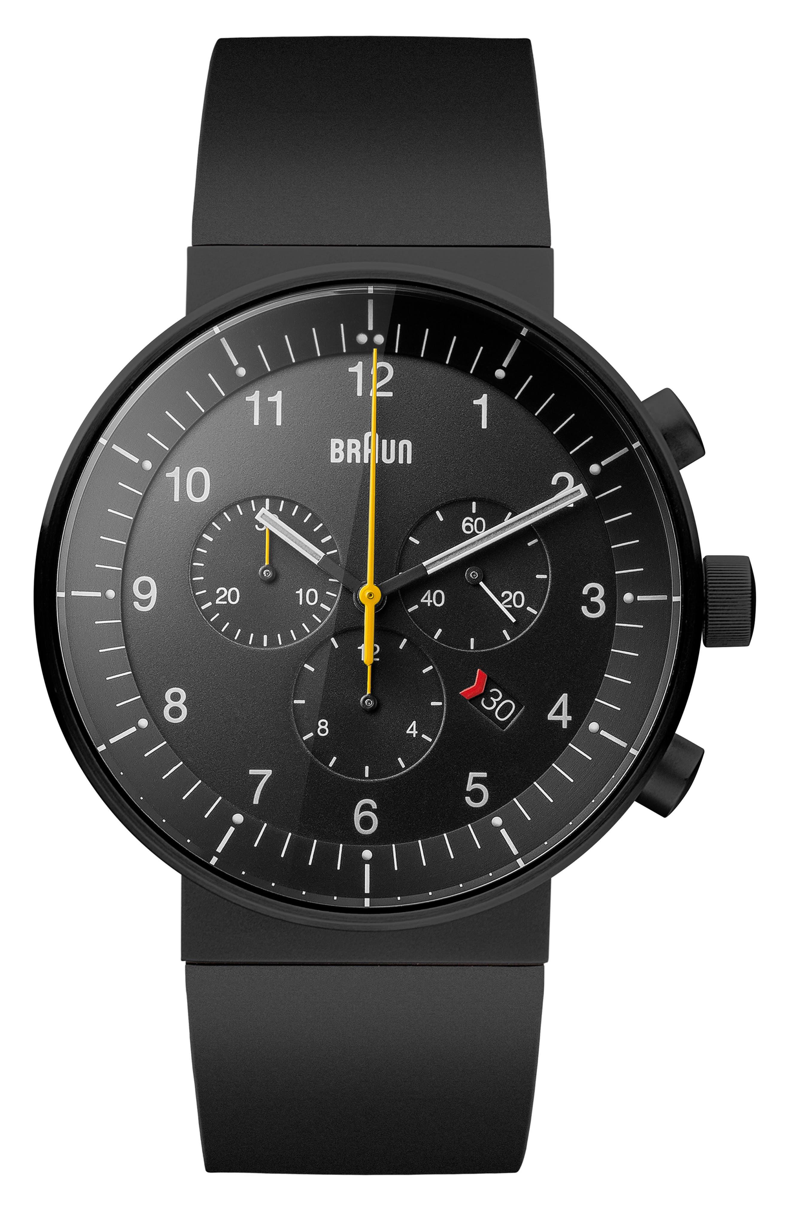 BRAUN Prestige Chronograph Leather Strap Watch, 43Mm in Black