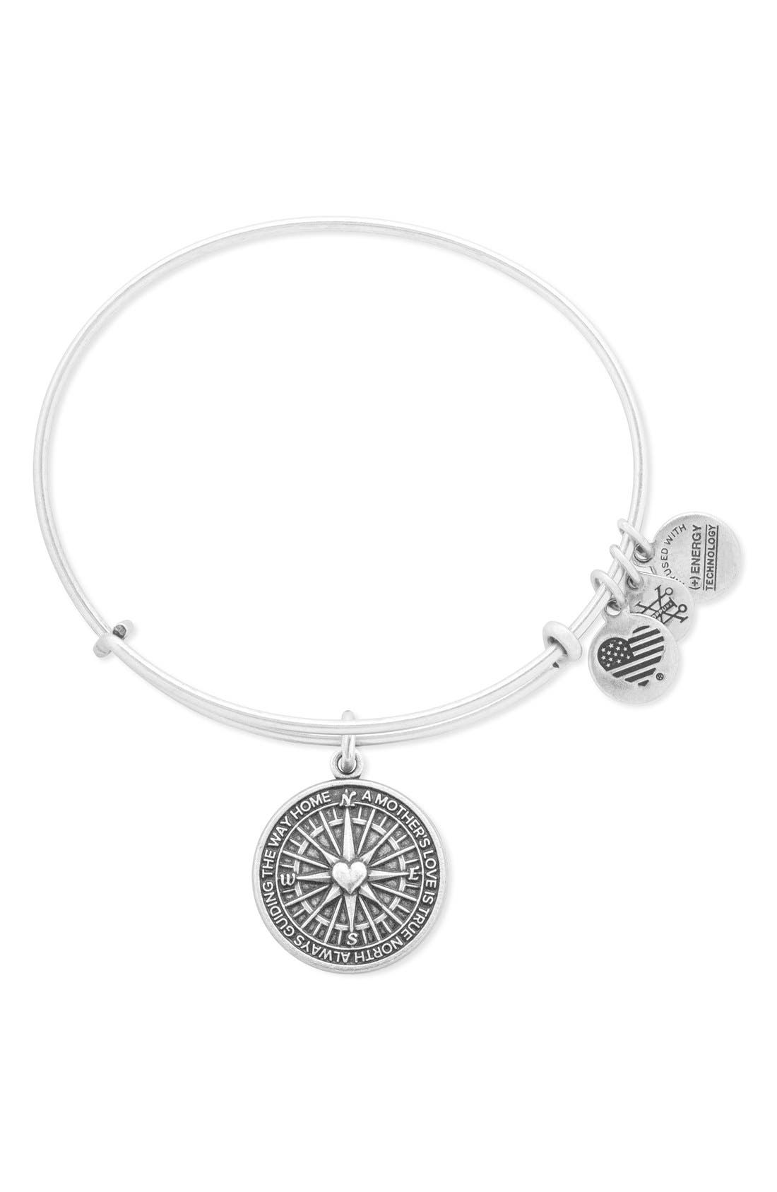 ALEX AND ANI 'True Direction' Adjustable Wire Bangle, Main, color, RAFAELIAN SILVER