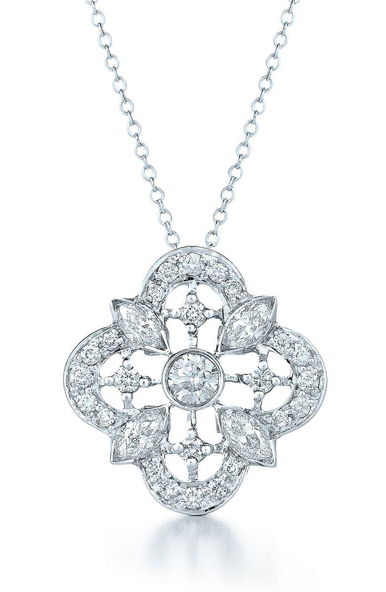 Kwiat Clover Diamond Amp White Gold Pendant Necklace