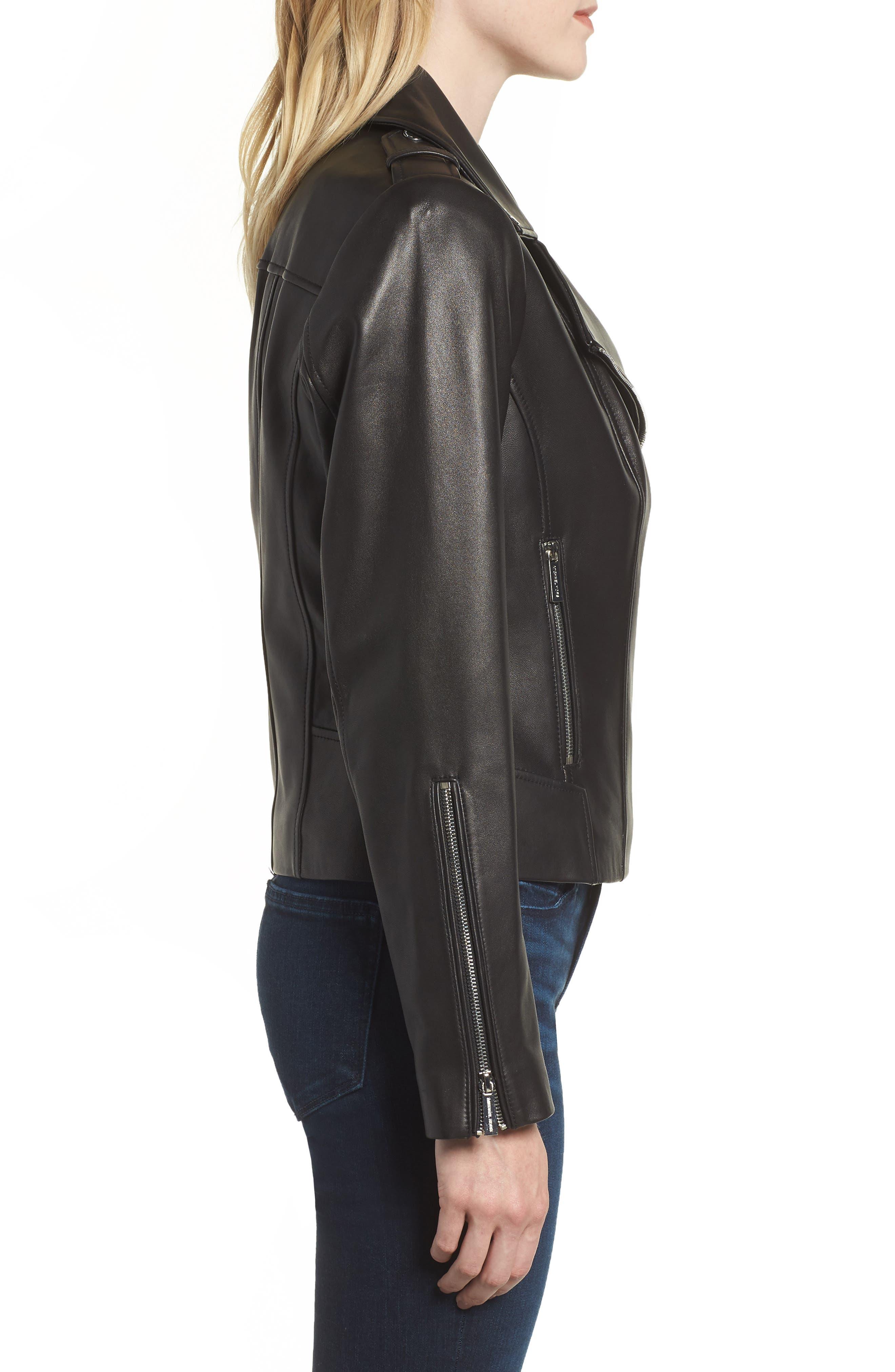 Classic Leather Moto Jacket,                             Alternate thumbnail 6, color,