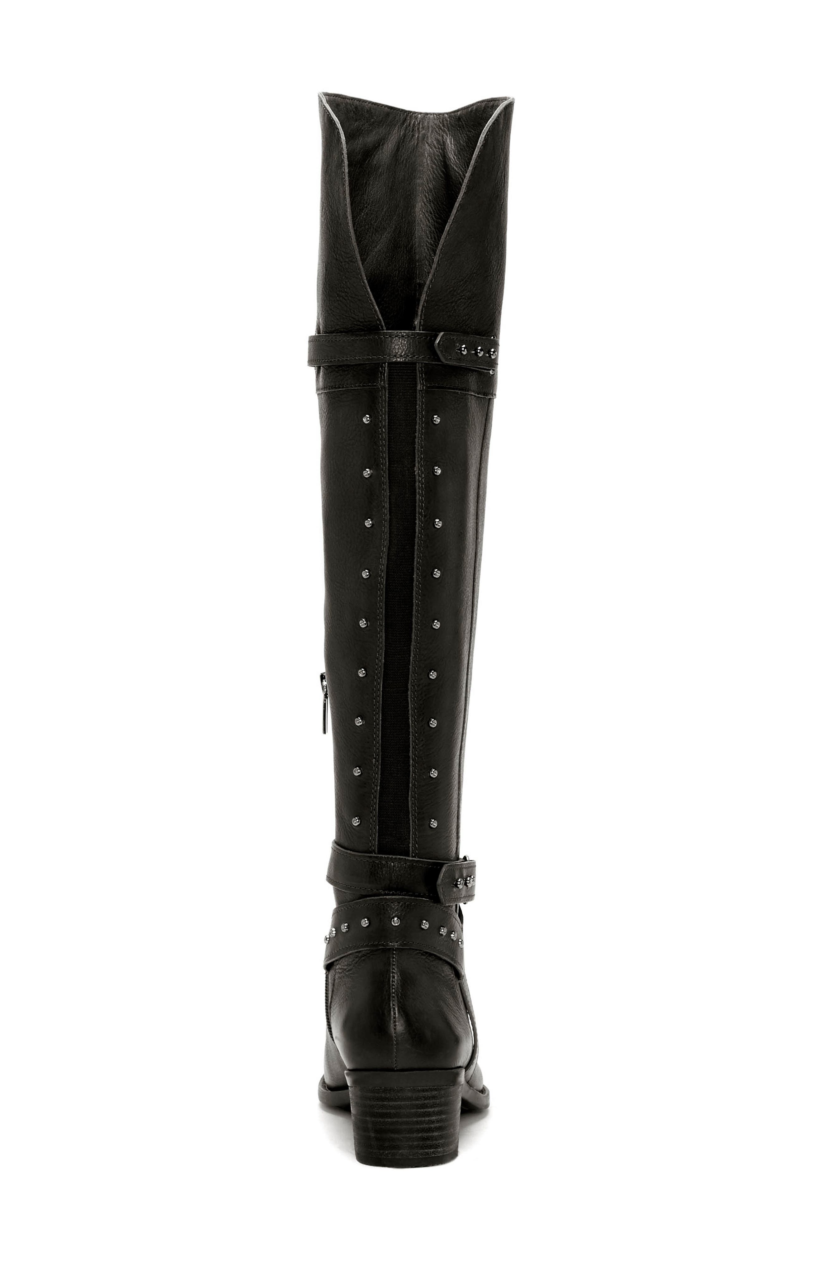 Bestant Over the Knee Boot,                             Alternate thumbnail 6, color,                             BLACK LEATHER WIDE CALF