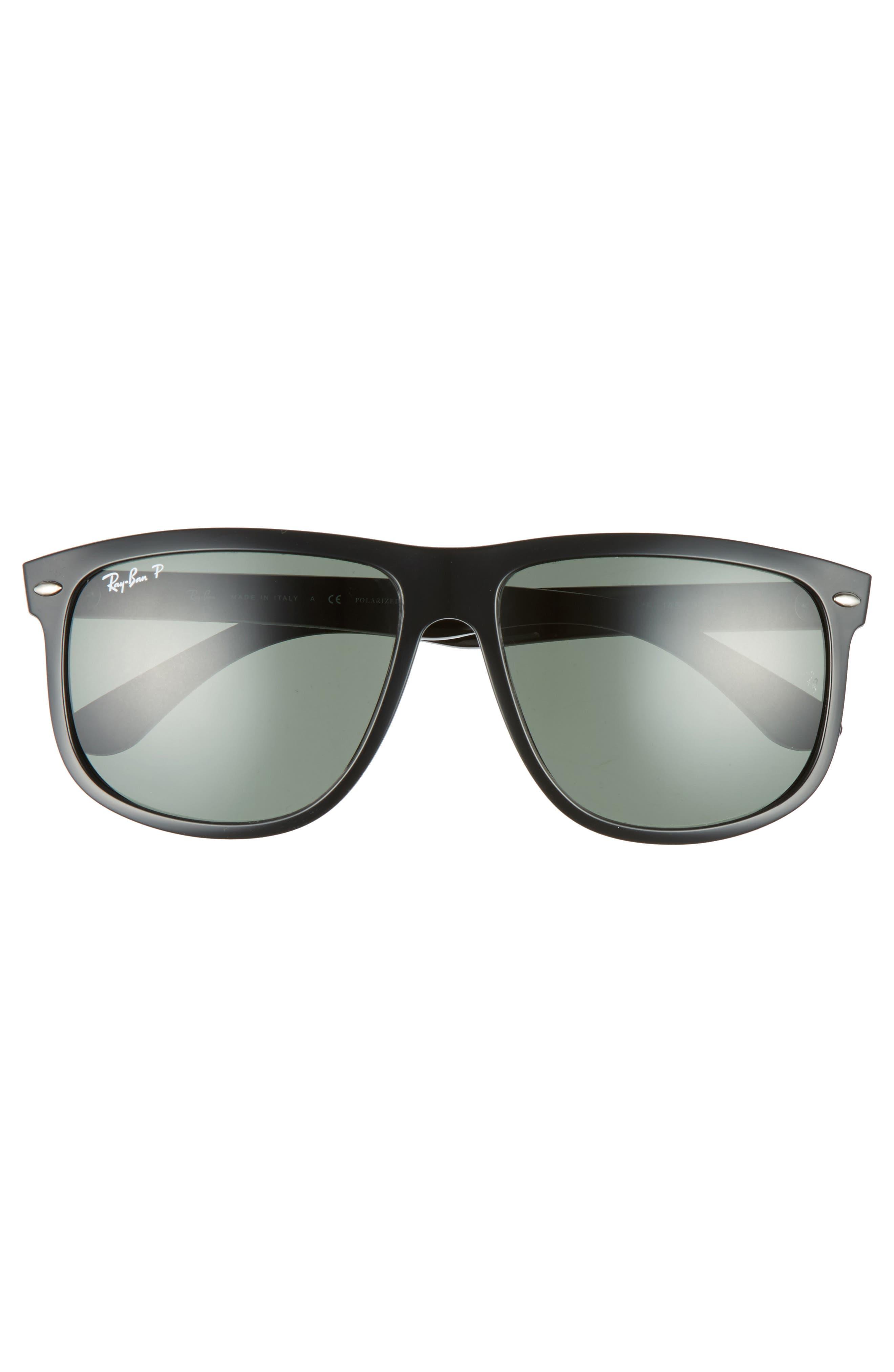 Highstreet 60mm Polarized Flat Top Sunglasses,                             Alternate thumbnail 4, color,                             BLACK POLARIZED
