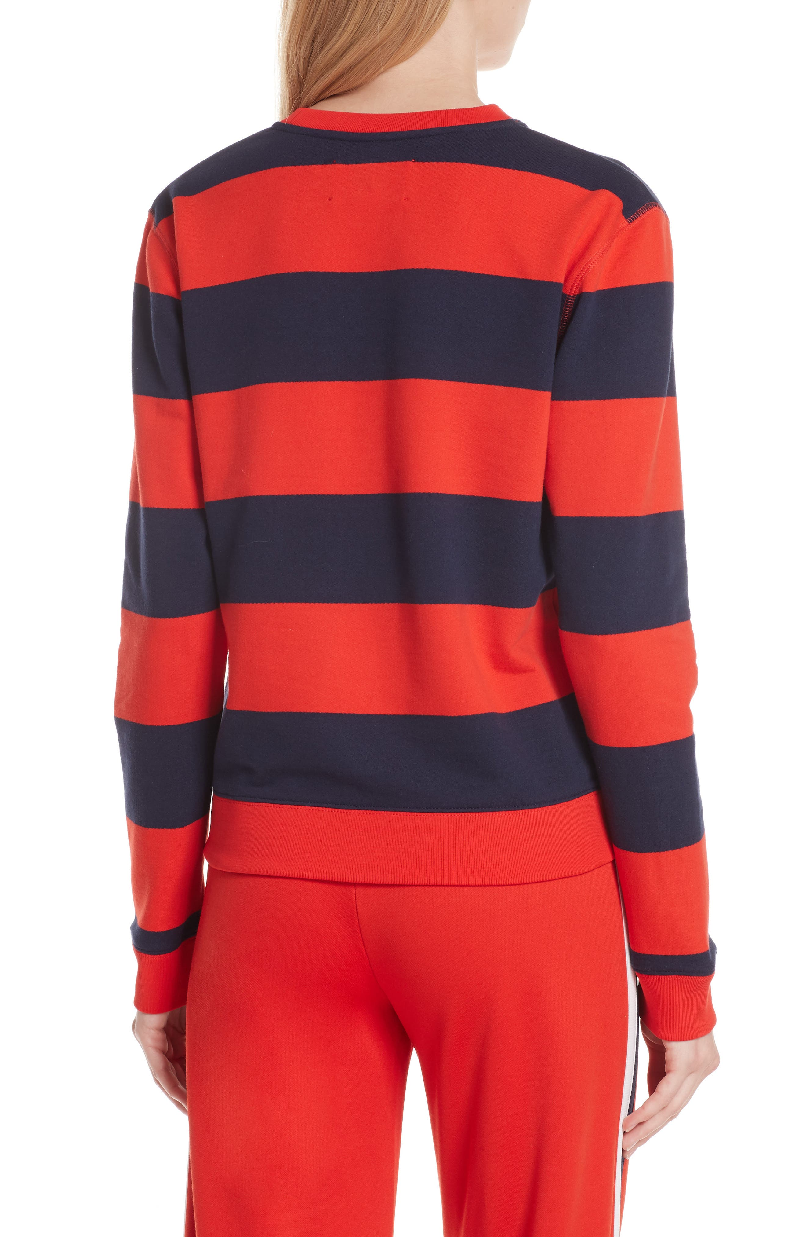 Love Stripe Sweatshirt,                             Alternate thumbnail 2, color,                             RED BROAD STRIPE