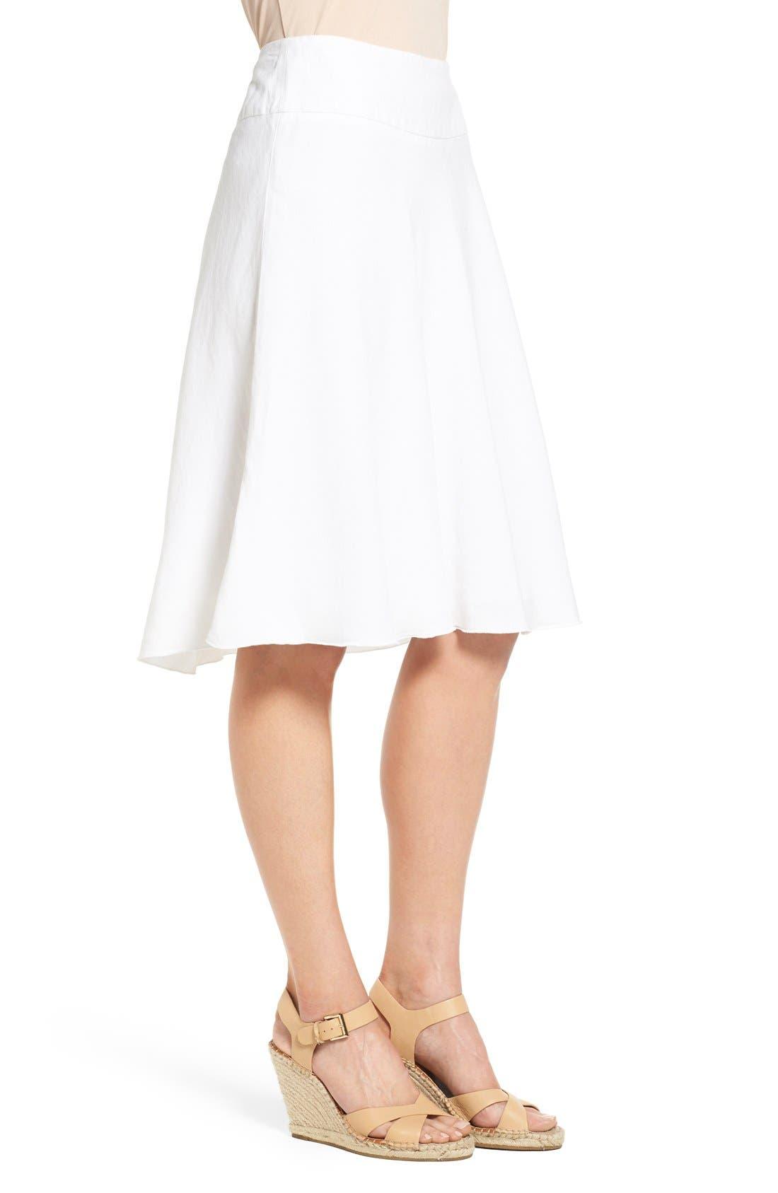 NIC+ZOE,                             Summer Fling Linen Blend Skirt,                             Alternate thumbnail 3, color,                             PAPER WHITE