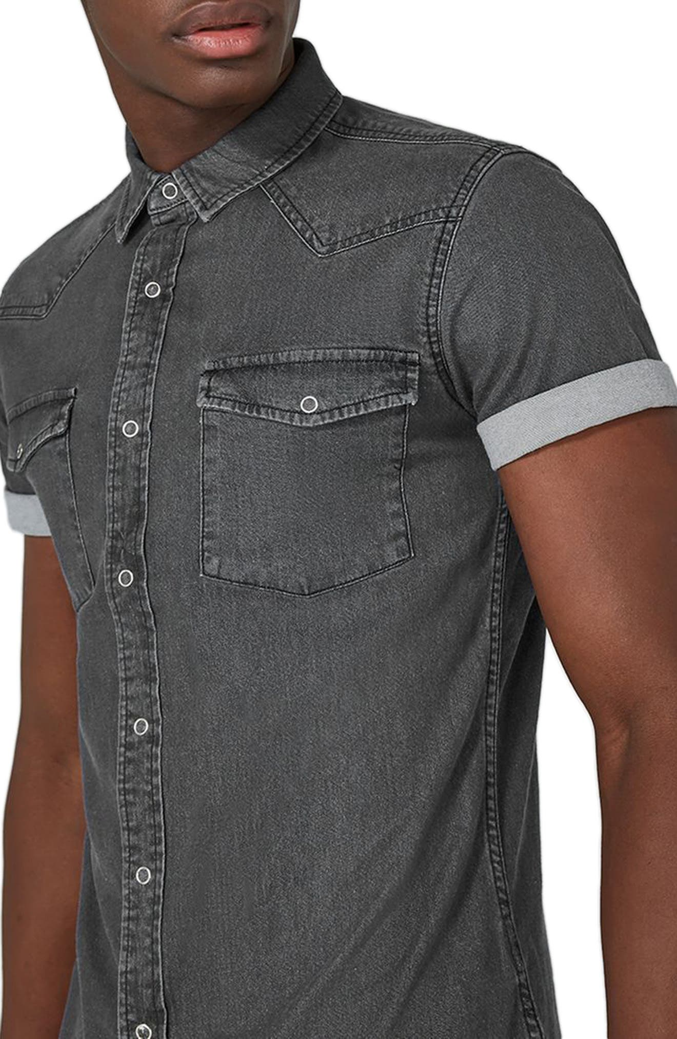 Muscle Fit Denim Shirt,                             Alternate thumbnail 3, color,                             001