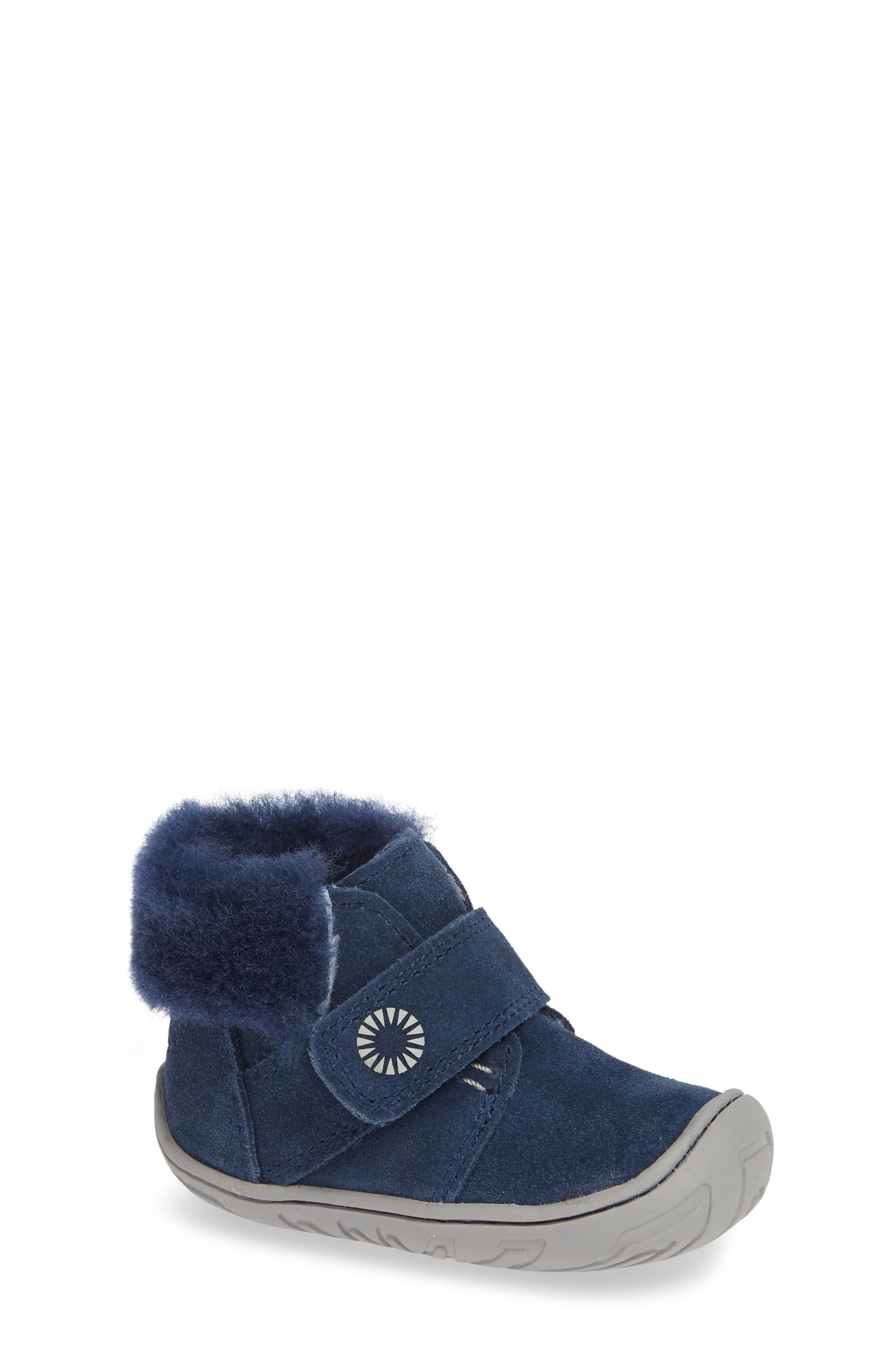 Jorgen Genuine Shearling Bootie,                             Main thumbnail 1, color,                             NEW NAVY