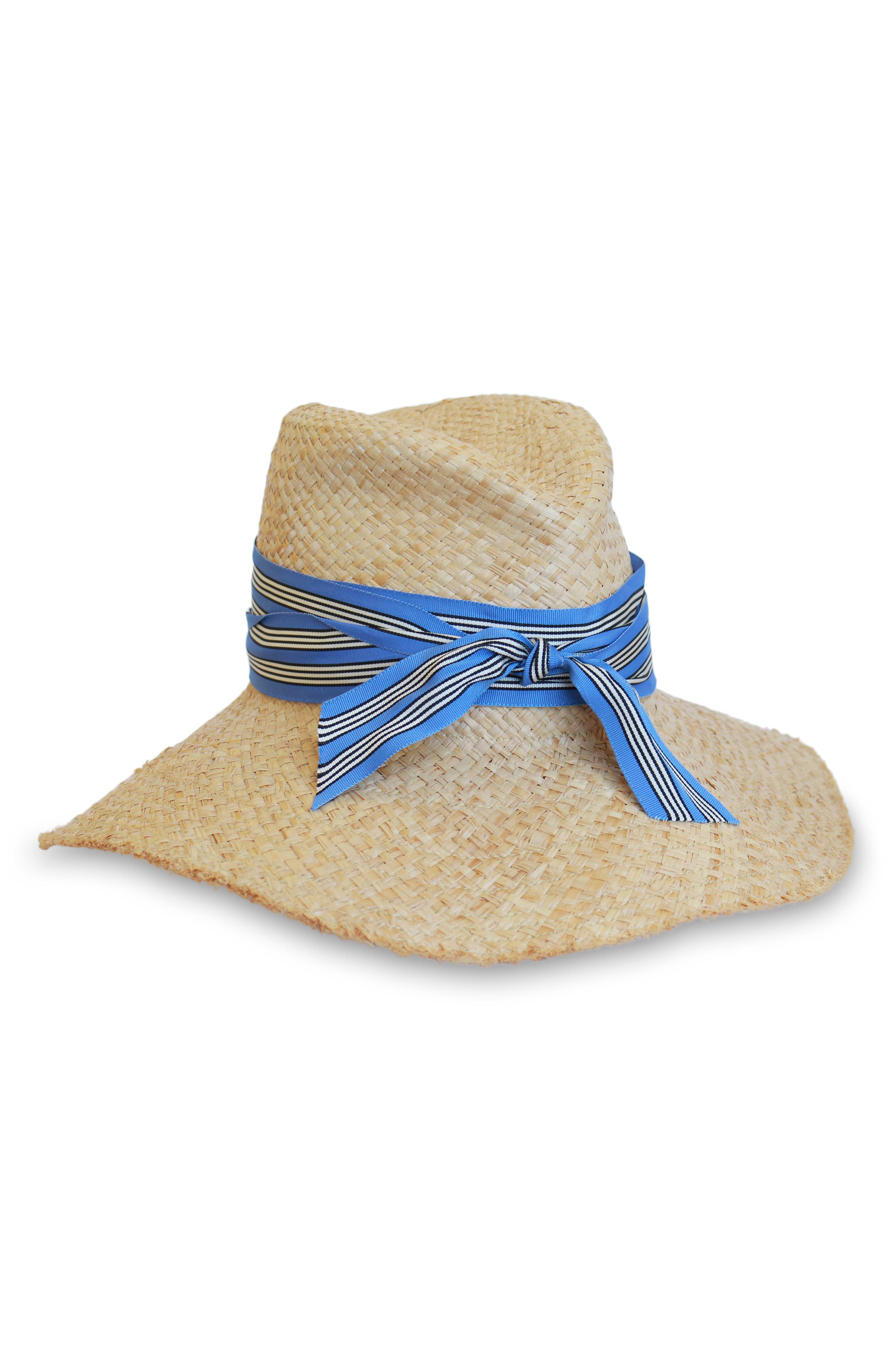 LOLA HATS First Aid Striped Band Straw Hat - Beige in Natural/ Regatta